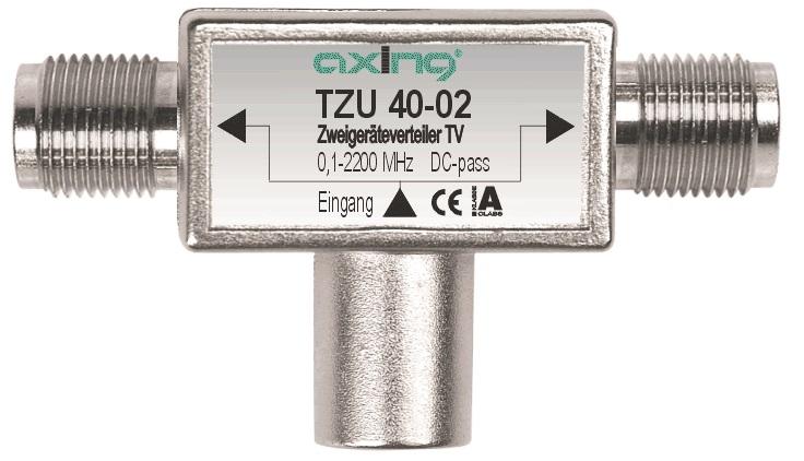 1 Stk SAT Zweigeräteverteiler F-Stecker Quick-2xF-Buchse,TZU 40-02 HSZUVG2F--