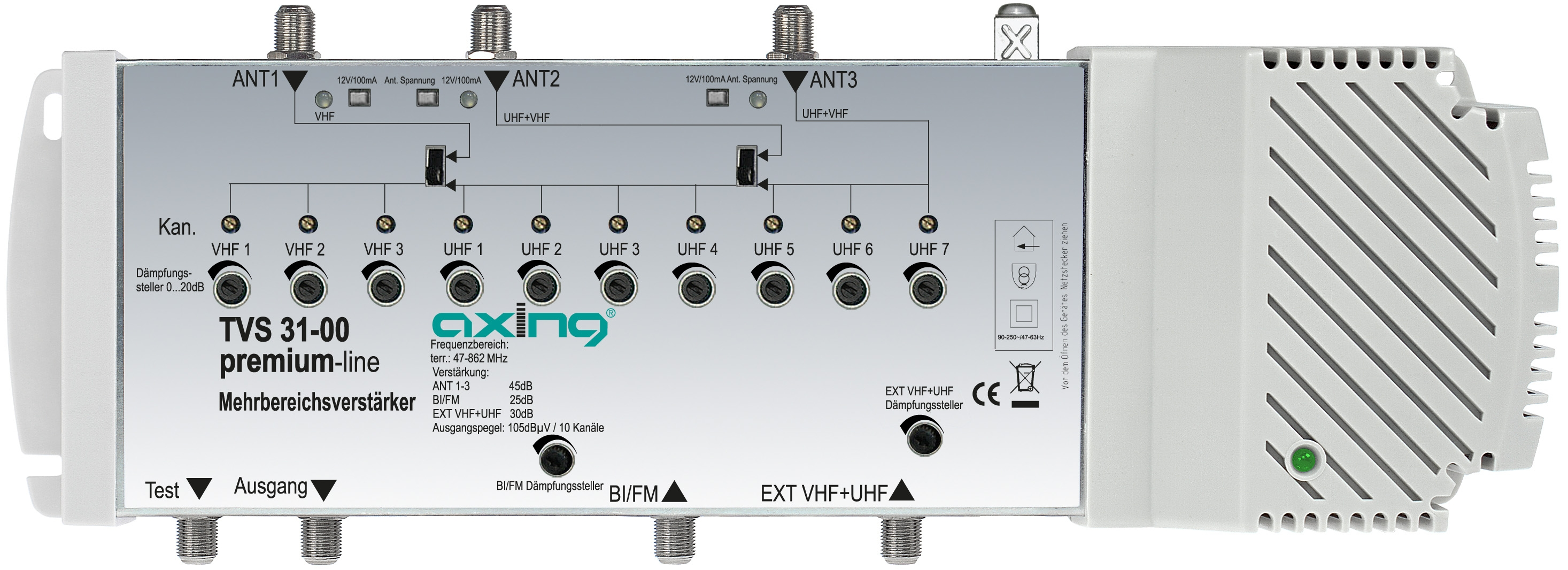 1 Stk DVB-T Verstärker 5 in 1,  Eingänge einstellbar, TVS 31-00 HSZUVT051A