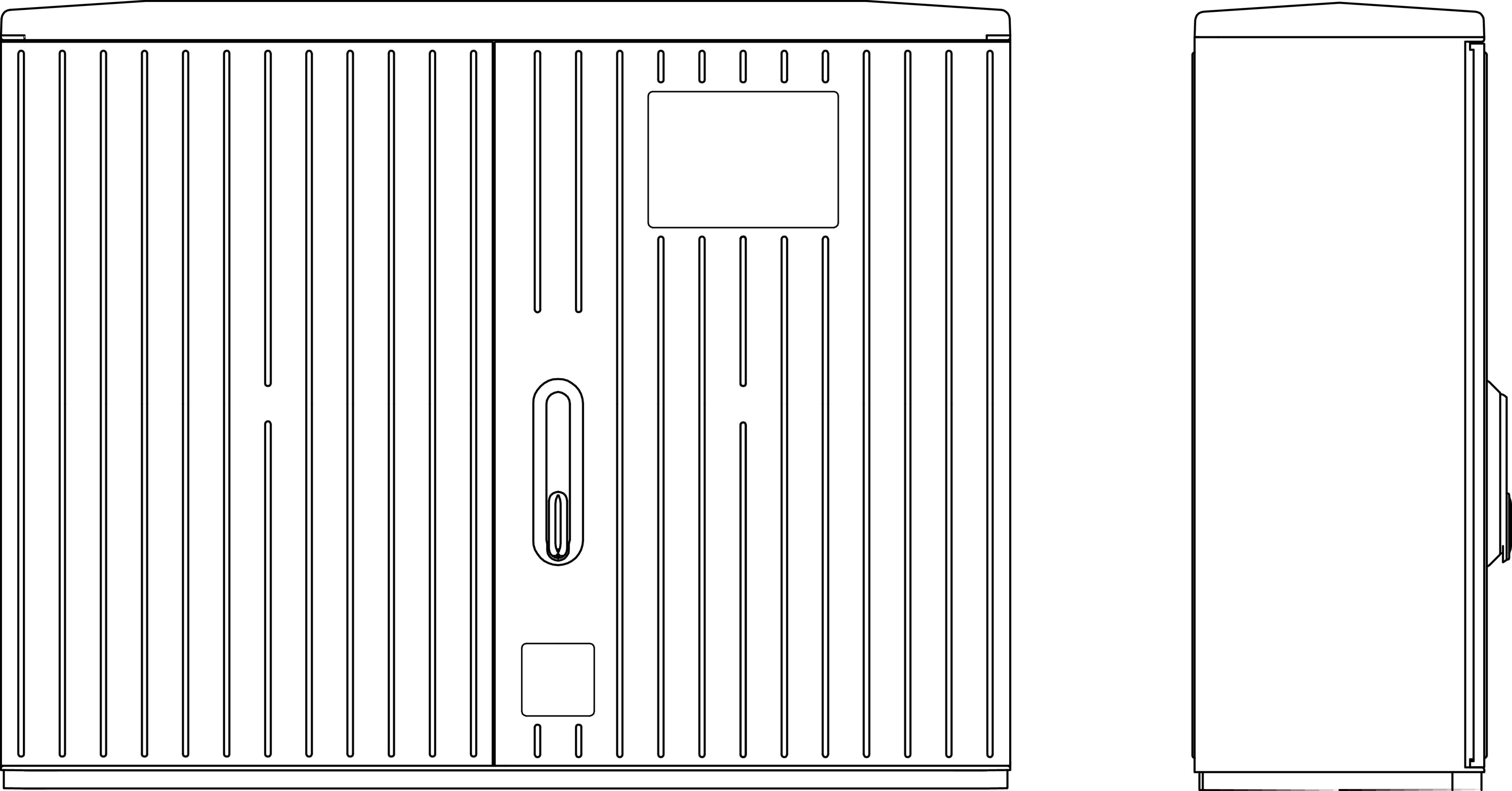 1 Stk Kabelverteilerschrank 2-türig gerippt, Gr.2X, RAL7035, IP44 IG008205--