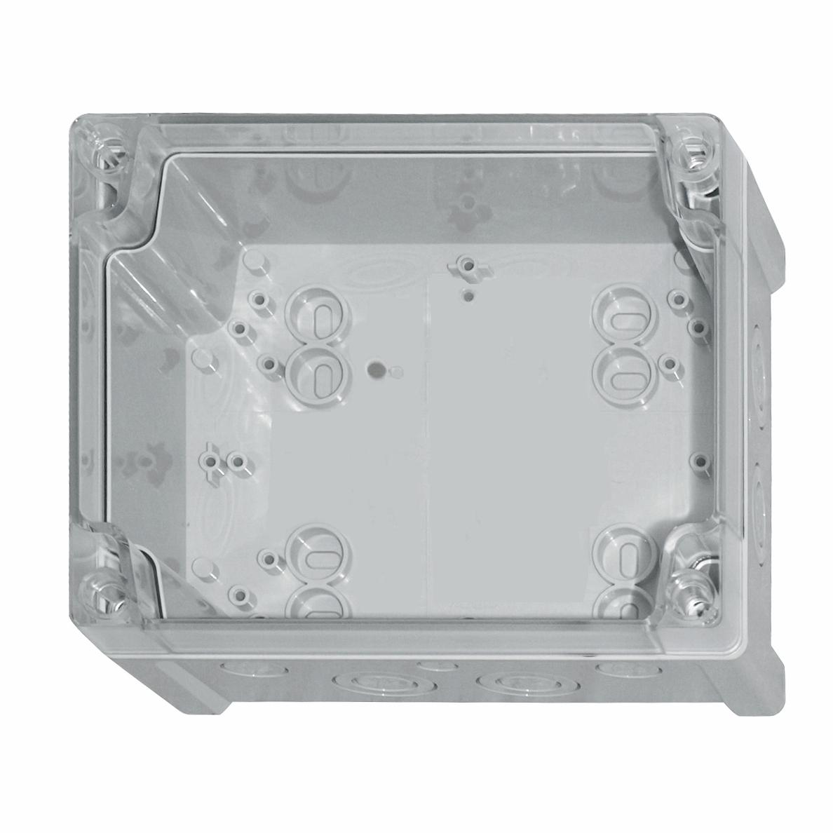1 Stk ABS Gehäuse+Deckel transp.m.Scharnier, 240x191x107mm,RAL7035 IG707016--