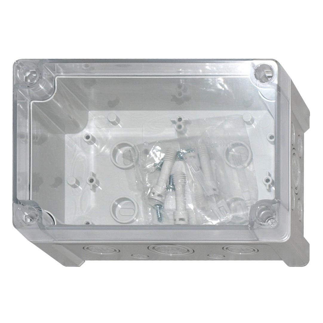 1 Stk ABS Gehäuse+Deckel trans, Scharn., 187x122x90mm, metr. Vorp. IG707034--