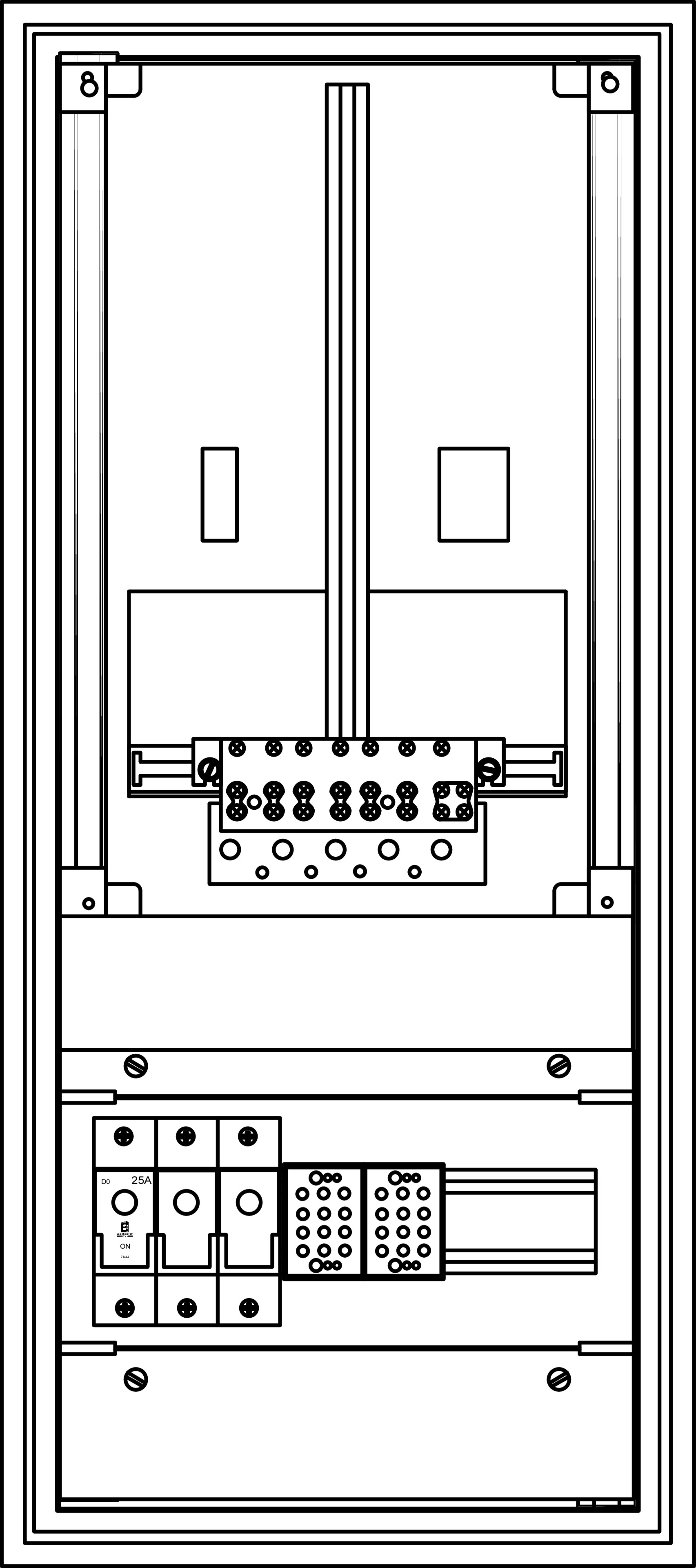 1 Stk KST.Zählervert.1 ZP, 1 Gerätefeld unten 12TE, 61005-Sp. IG714124--