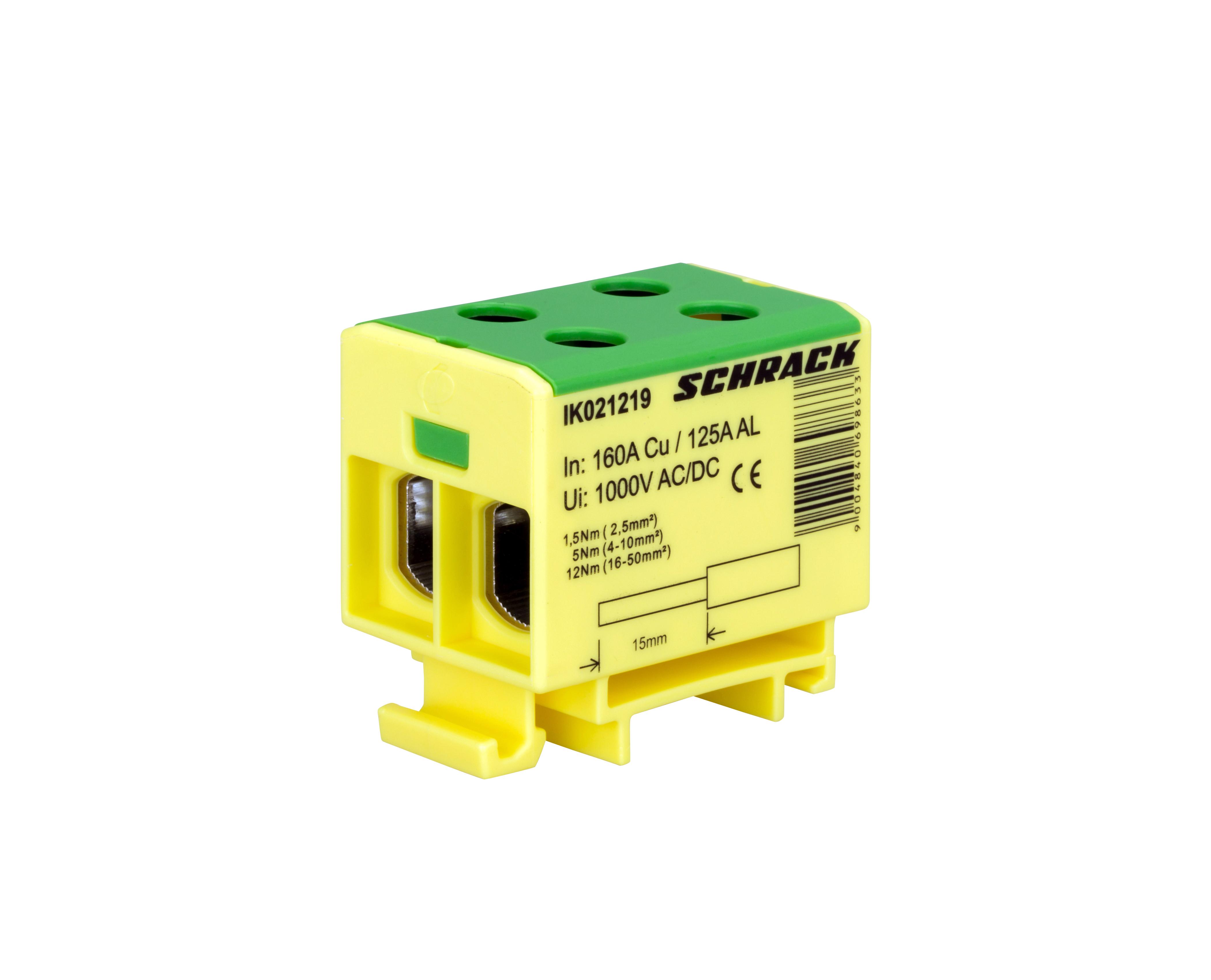 1 Stk Al-Cu Klemme, 2,5-50mm², 2 Ab- und 2 Zugänge, grün-gelb IK021219--