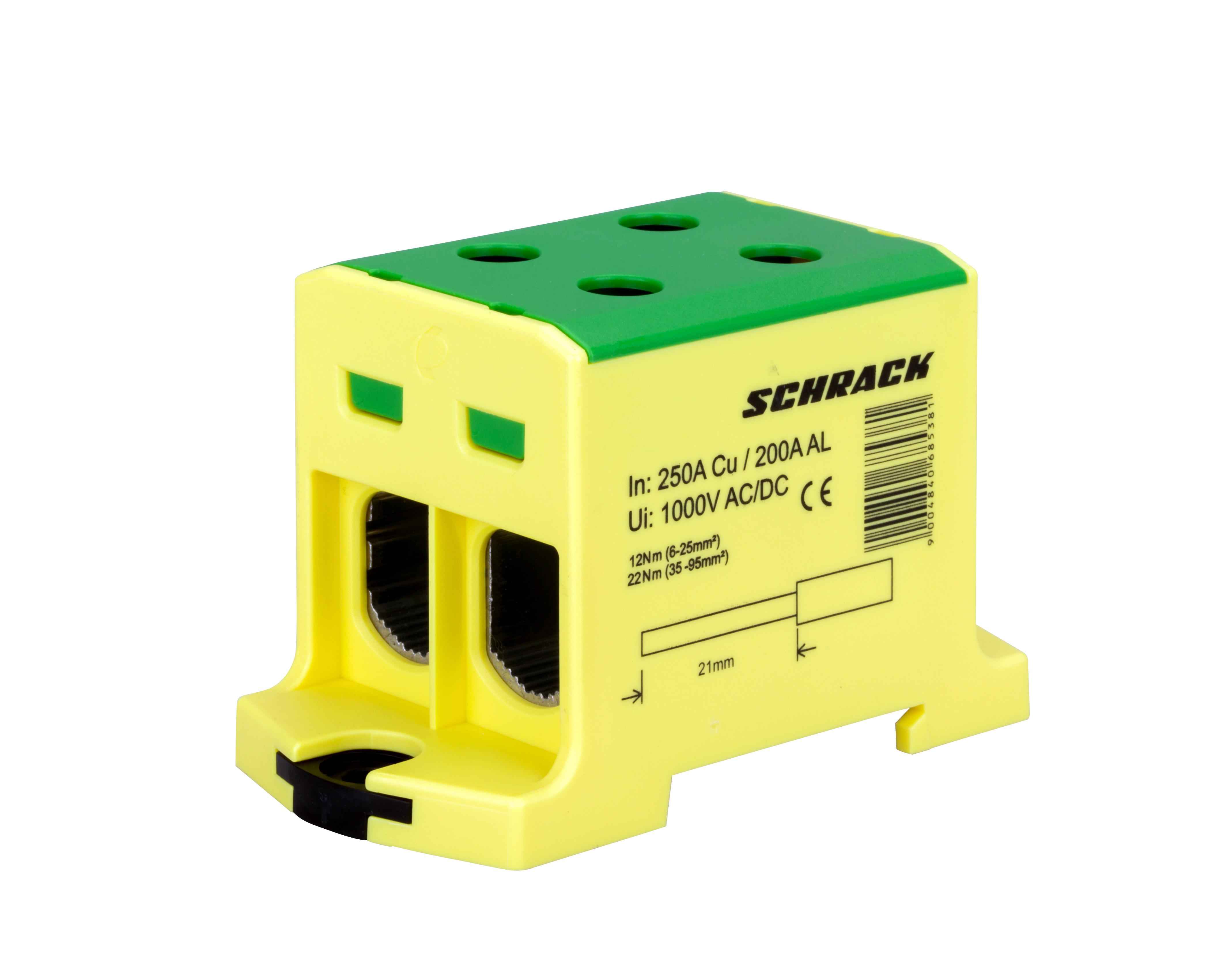 1 Stk Alu-Cu Klemme, 6-95mm², 2 Ab- und 2 Zugänge, grün-gelb IK021228--