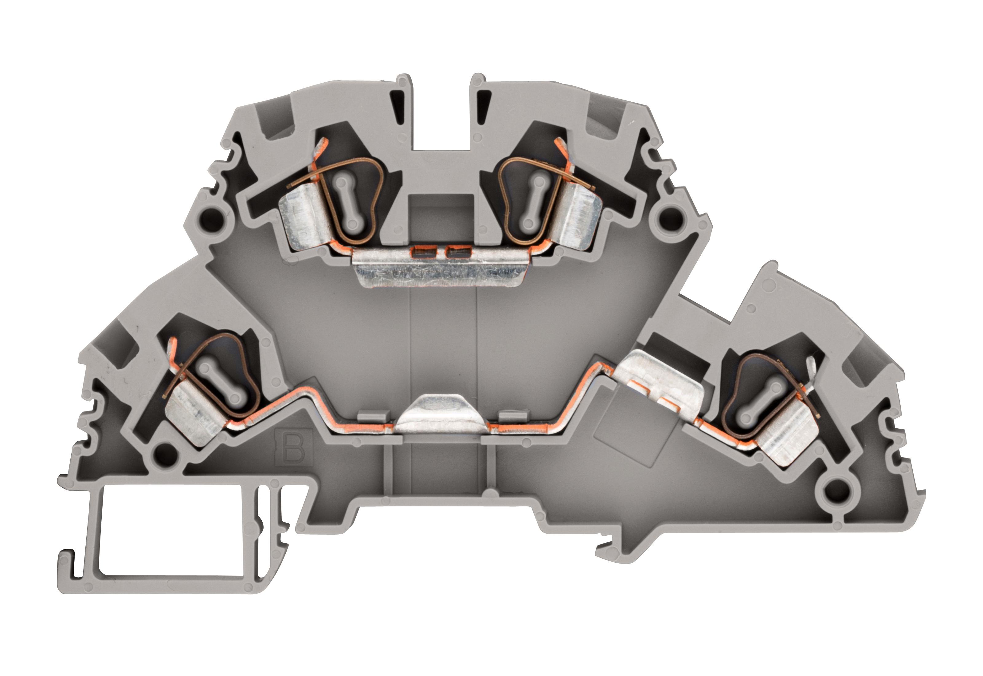 1 Stk Federkraft-Doppelstockklemme 4mm², Type YBK4-2F, grau IK660004--