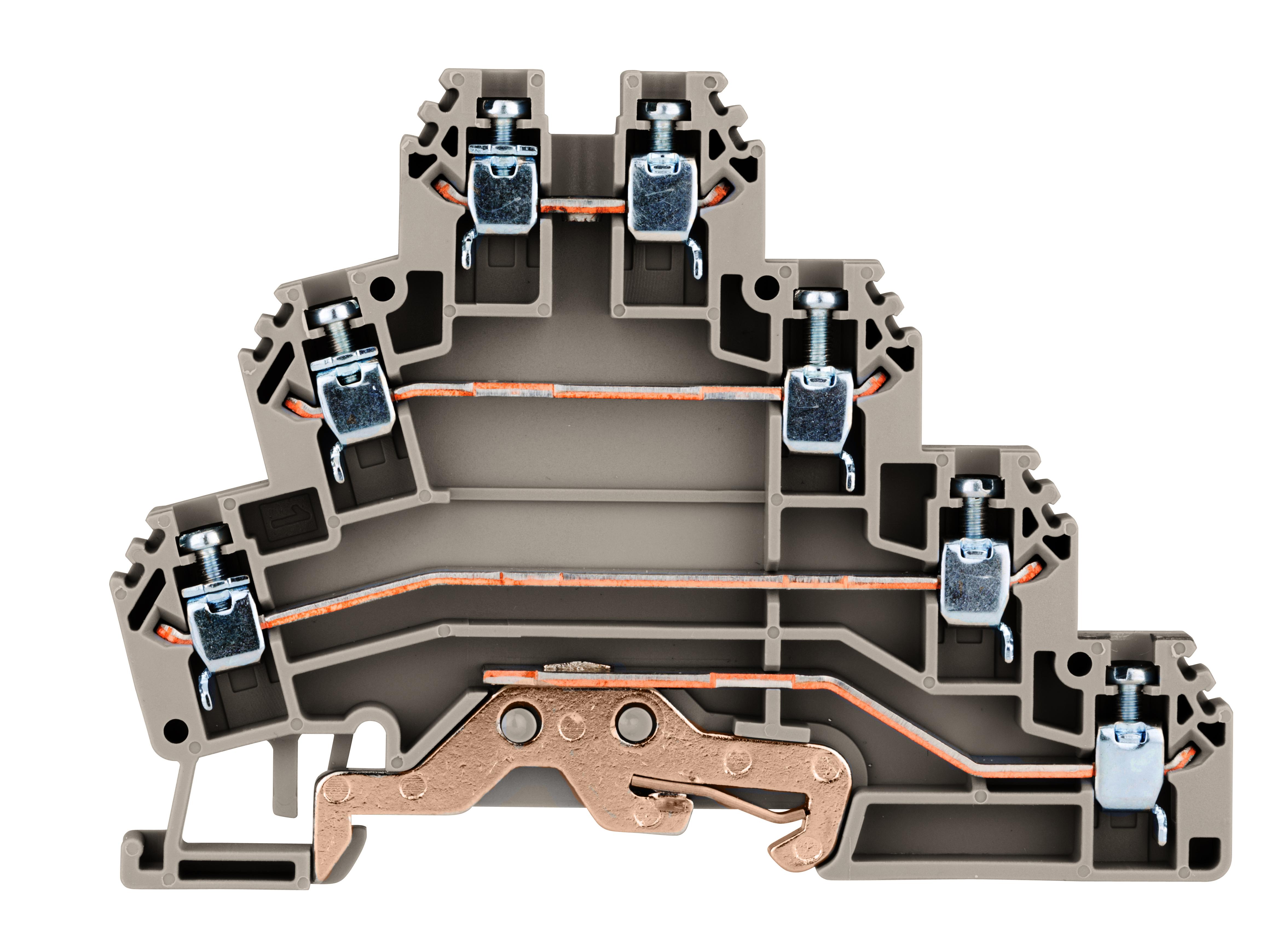 1 Stk Installations-Dreistockklemme 2,5mm², Type PUK3T, 3P+PE IK680003--