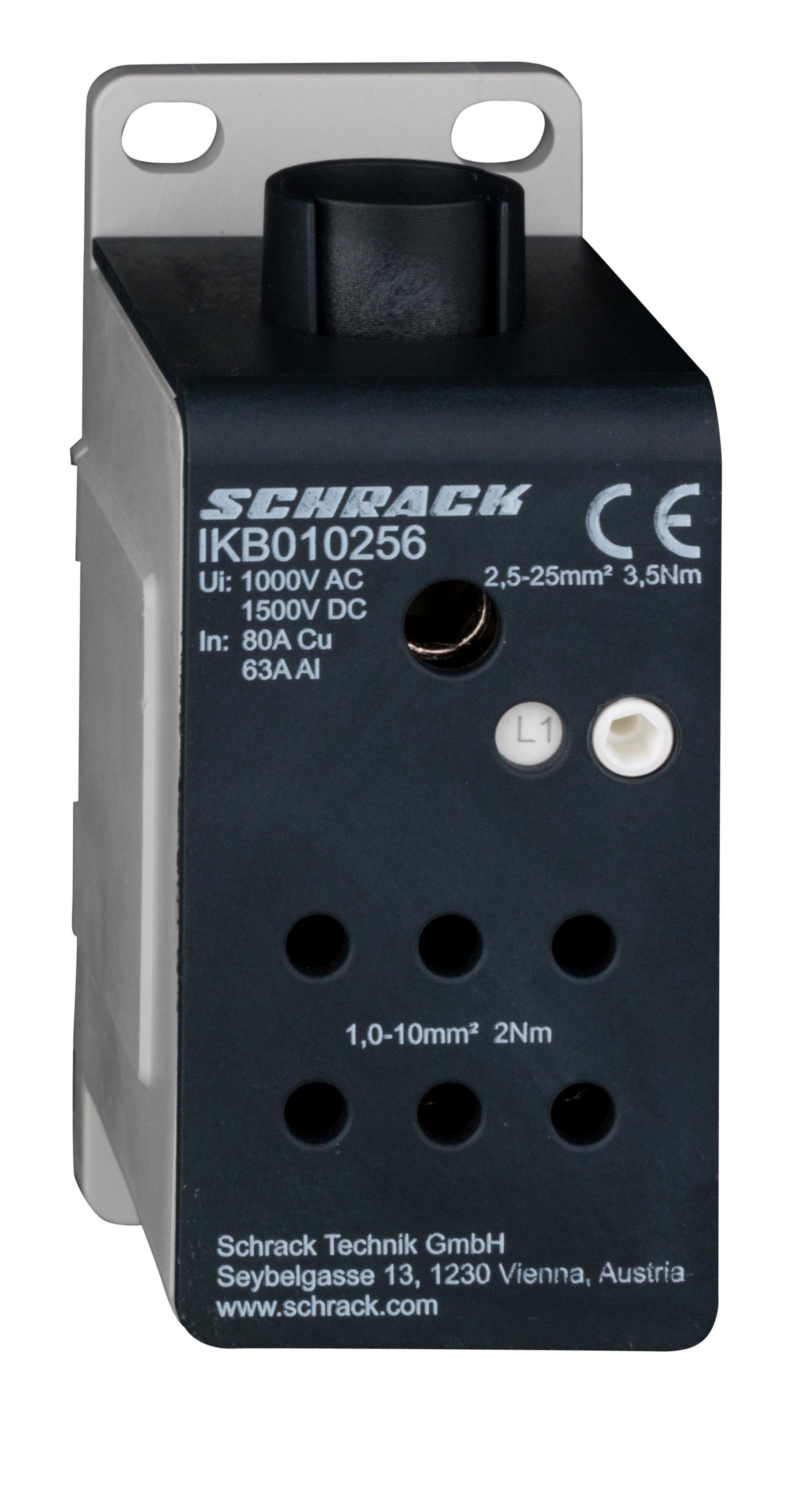 1 Stk ALU -Anschlussblock, 1-polig, 80A, zu 1x25mm², ab 6x 10mm² IKB010256-