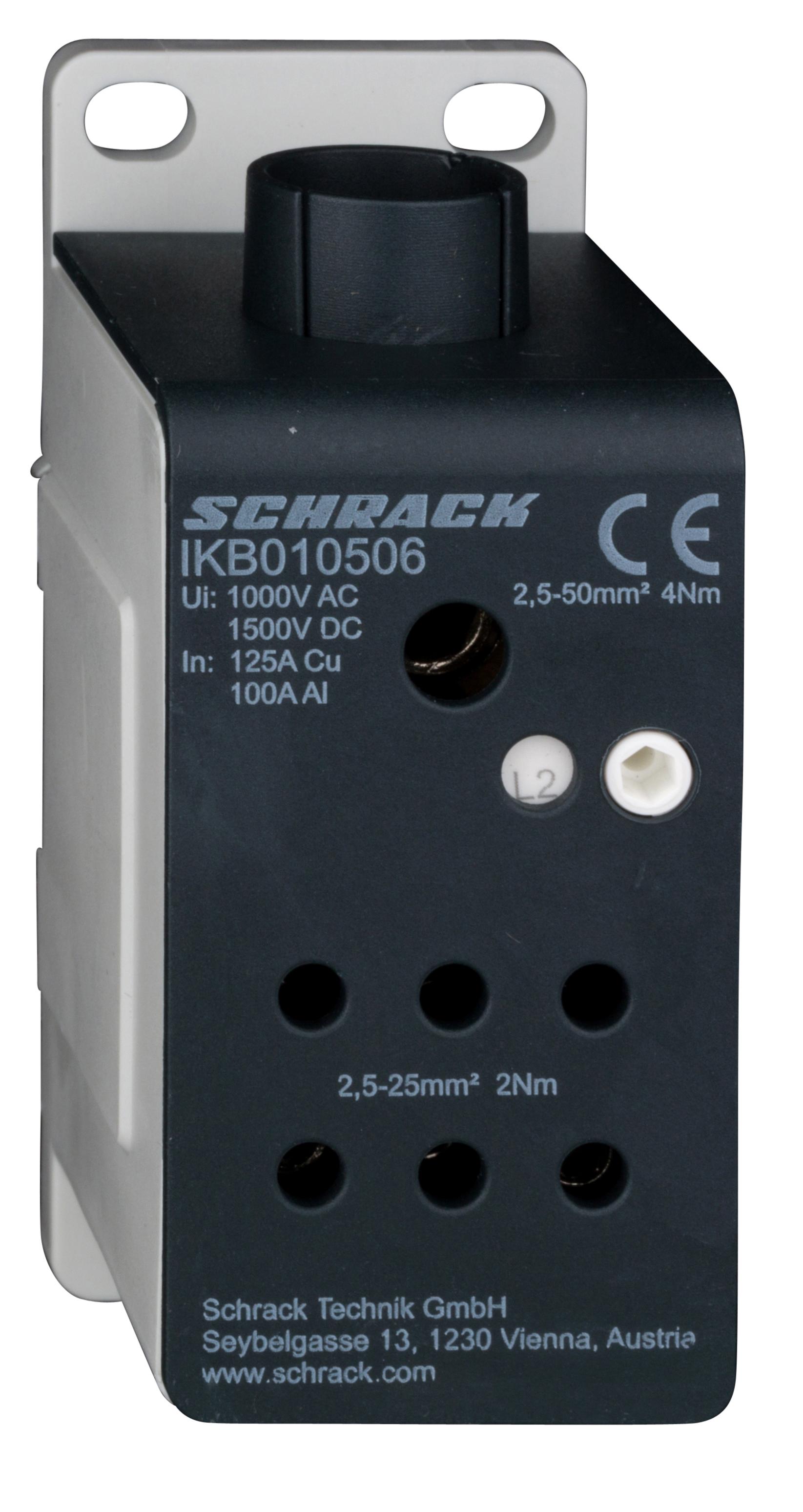 1 Stk ALU -Anschlussblock, 1-polig, 125A, zu 1x50mm², ab 6x25mm² IKB010506-