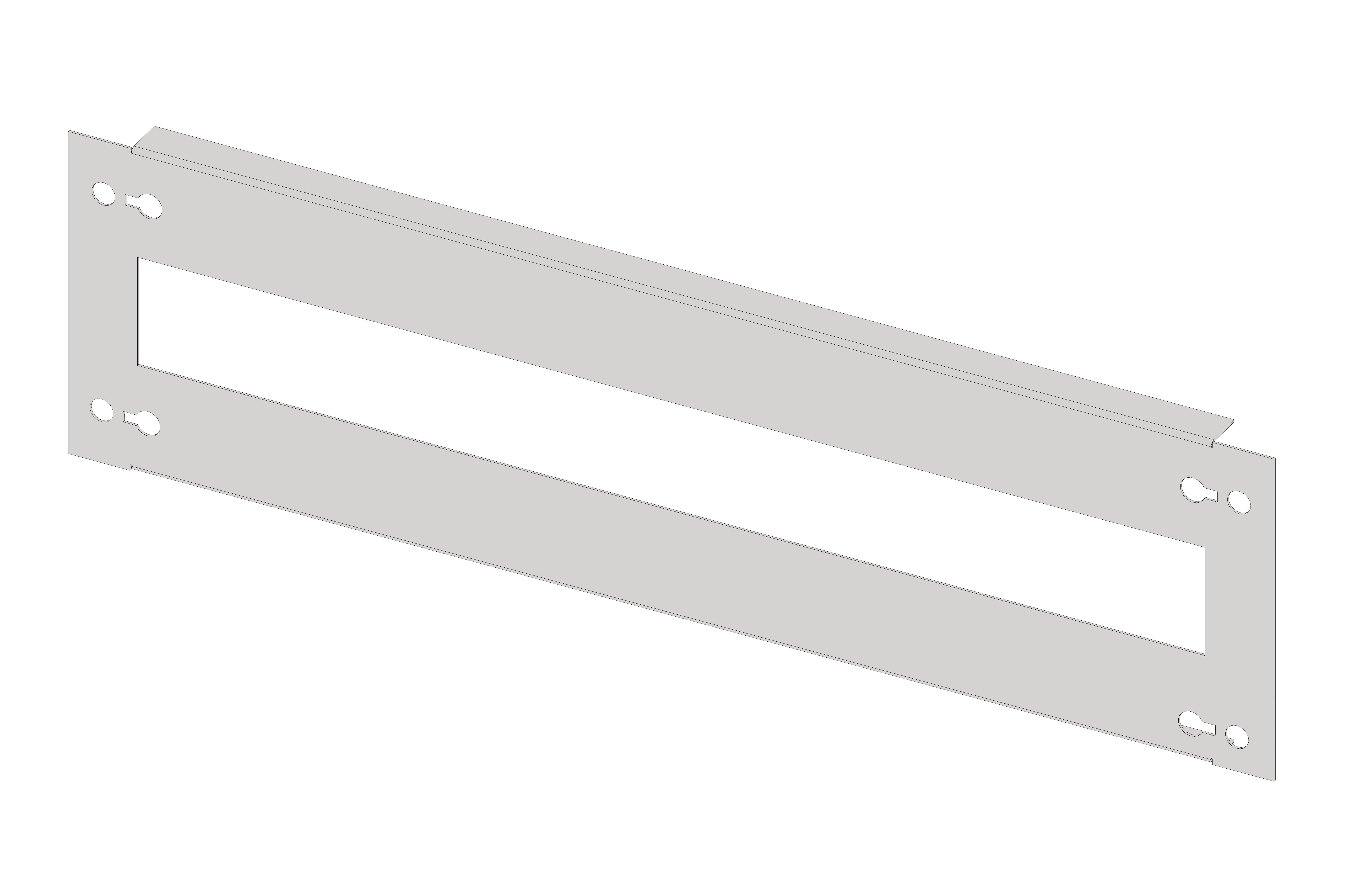 1 Stk Gerätefrontplatte 2G3 Stahlblech, Ausschnitt lang IL052203-H