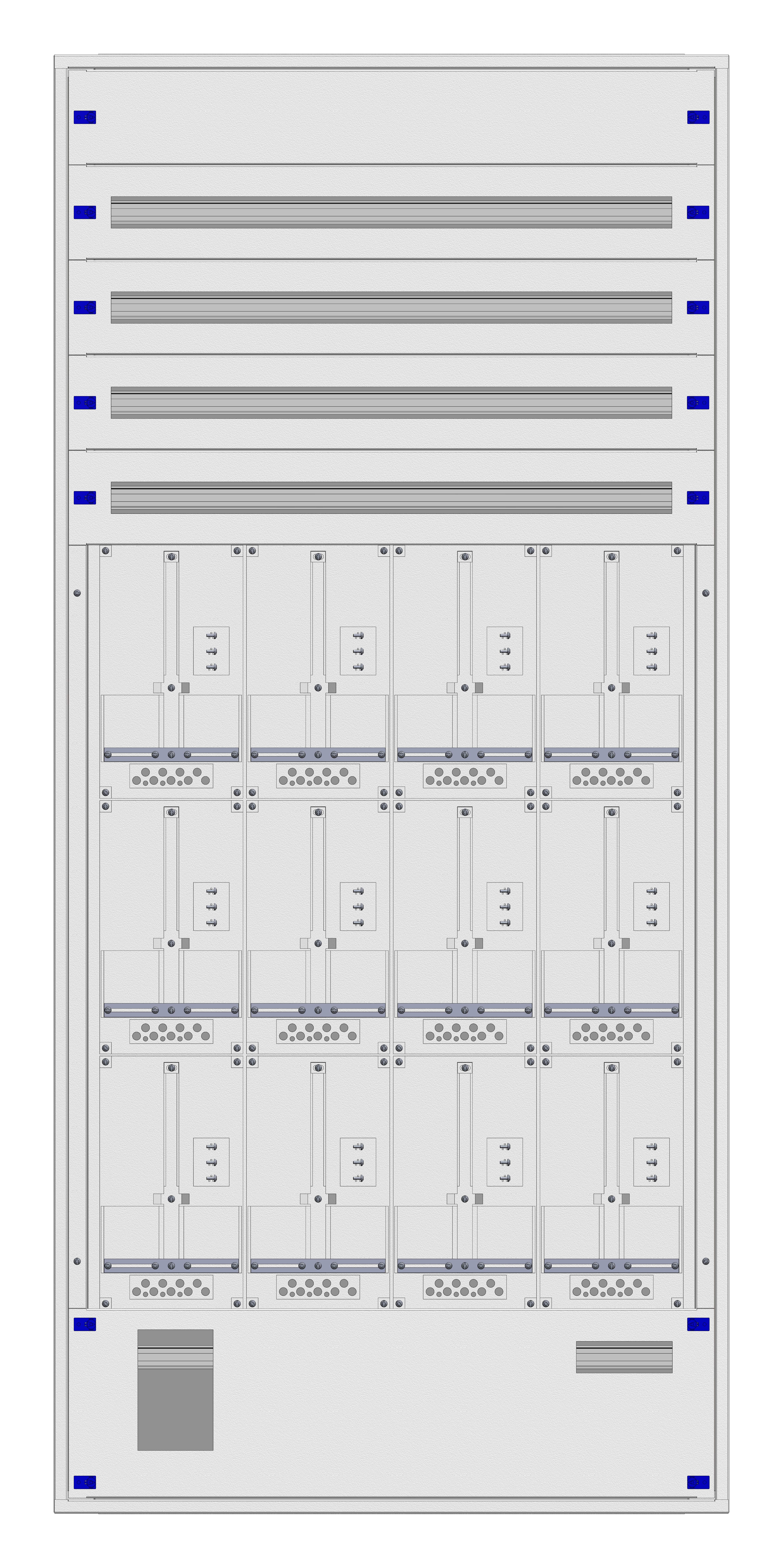 1 Stk Unterputz-Zählerverteiler 4U-45M/SBG 12ZP, H2160B1030T250mm IL170445SS