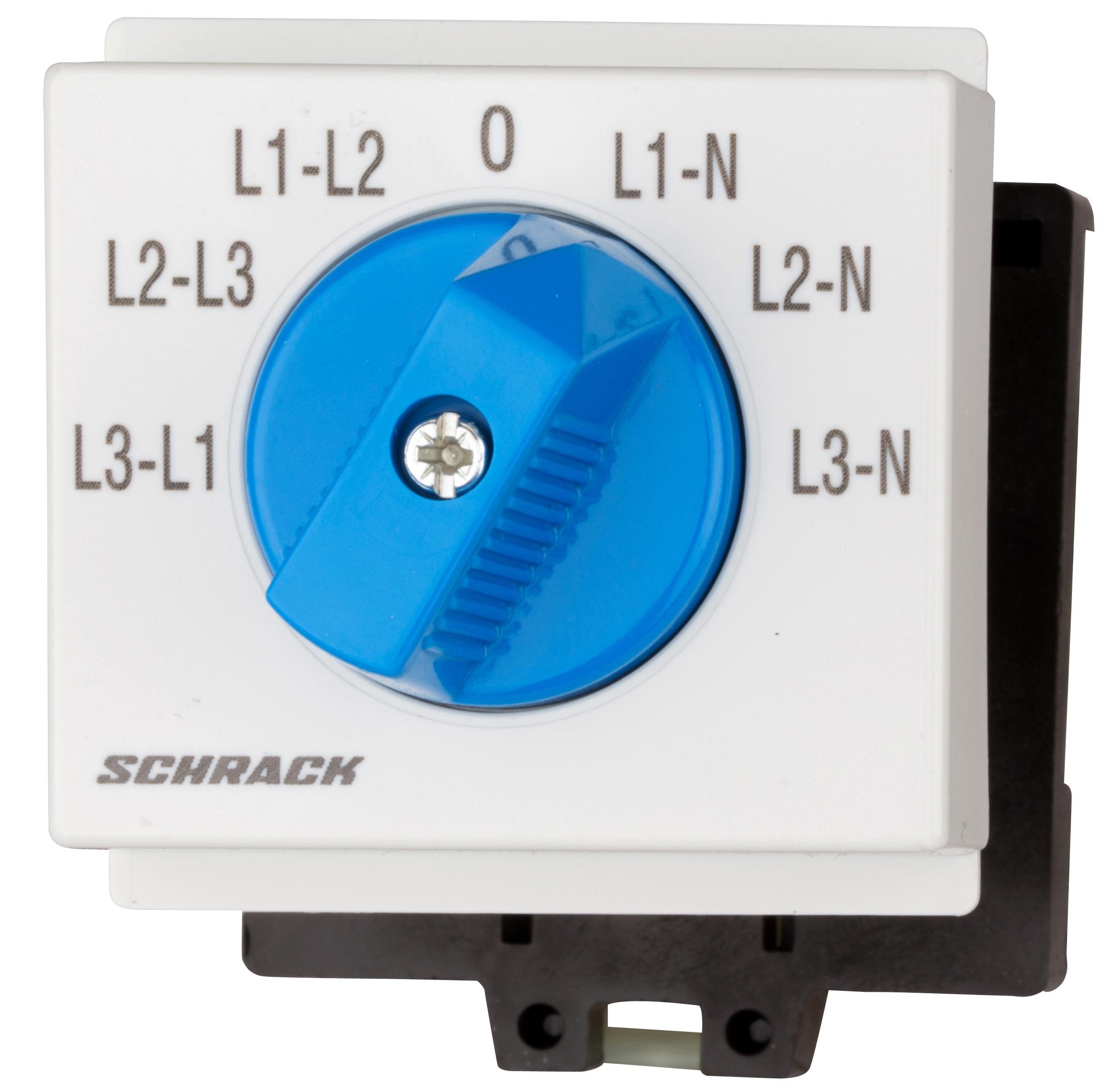 1 Stk Voltmeter-Umschalter 3 x L-L / 3 x L-N, Reiheneinbau IN009V01--