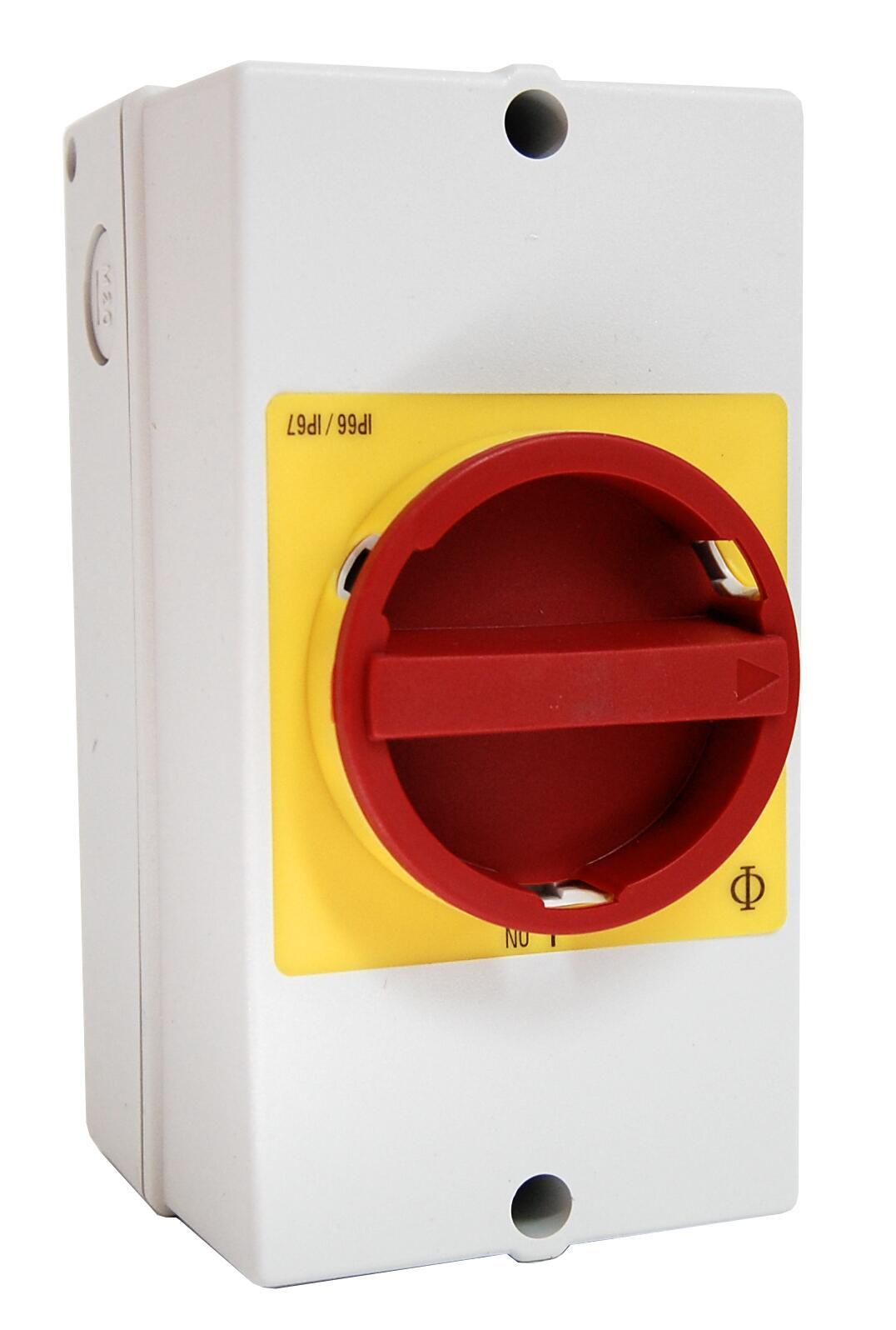 1 Stk Not-Aus-Schalter, 3-polig + 2 Hilfskontakte, PE-Klemme, 25A IN892001--