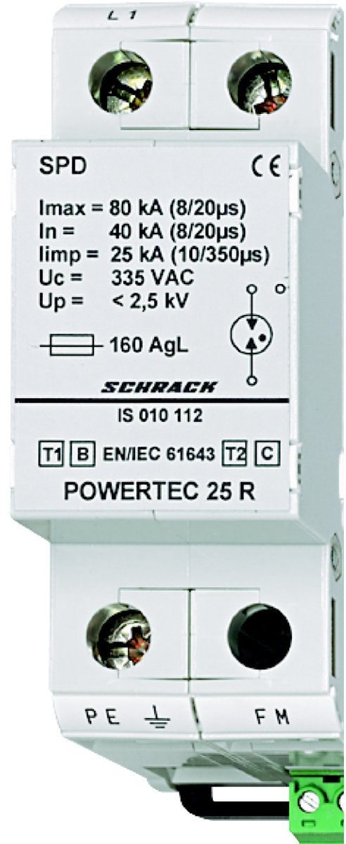 1 Stk Blitzstromableiter 25kA,Ableiterklasse T1/2 B/C+Hilfskontakt IS010112--
