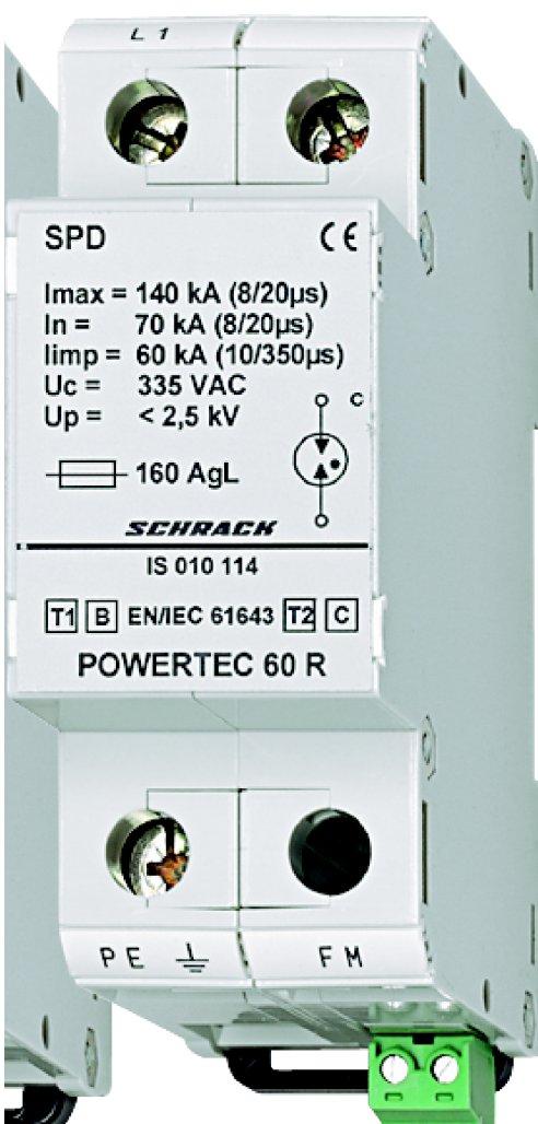 1 Stk Blitzstromableiter 60kA,Ableiterklasse T1/2 B/C+Hilfskontakt IS010114--