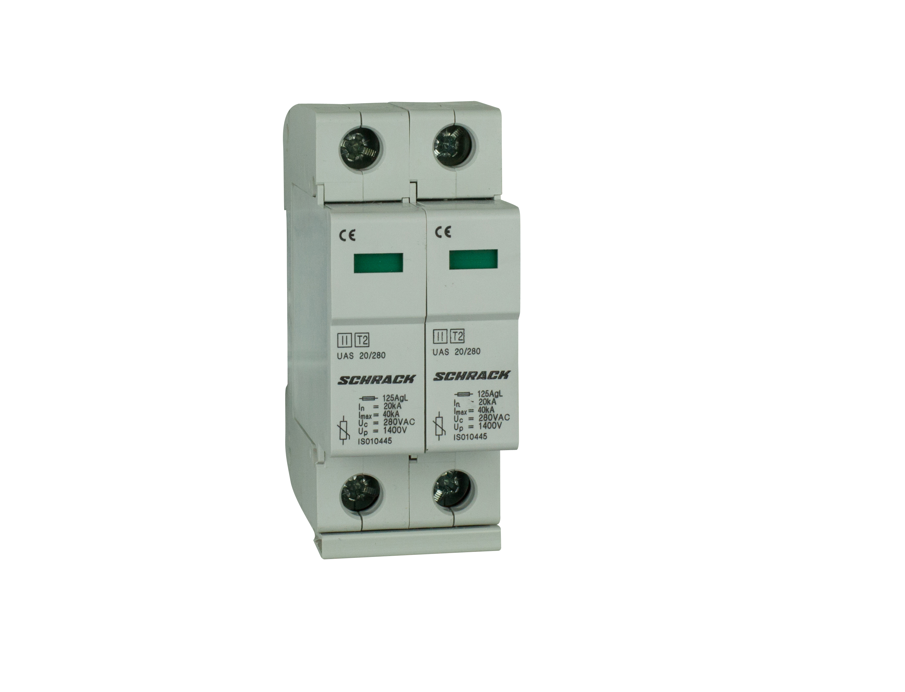 1 Stk T2/C - Ableiter komplett, 2p, 2x20kA/280V - Serie UAS IS010447--