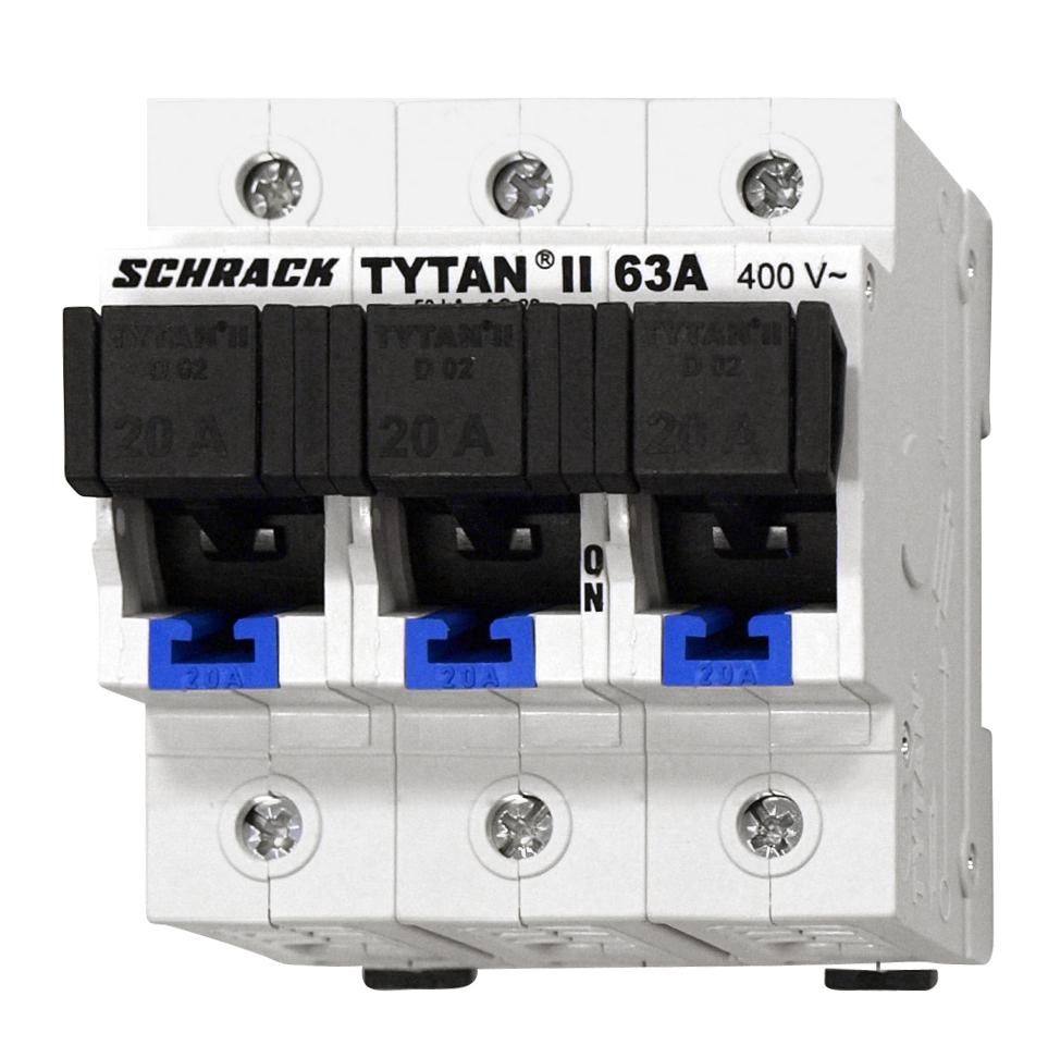 1 Stk TYTAN II, D02-Sicherungslasttrennschalter,3-pol komplett 20A IS5047PL20