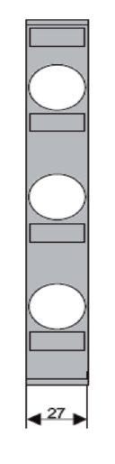 1 Stk D02-Streifenabdeckung 27mm 3-polig für Sockel IS504823 IS504824--