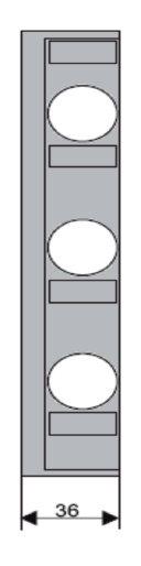 1 Stk D02-Streifenabdeckung 36mm+Verbreiterung 3-polig f. IS504823 IS504825--