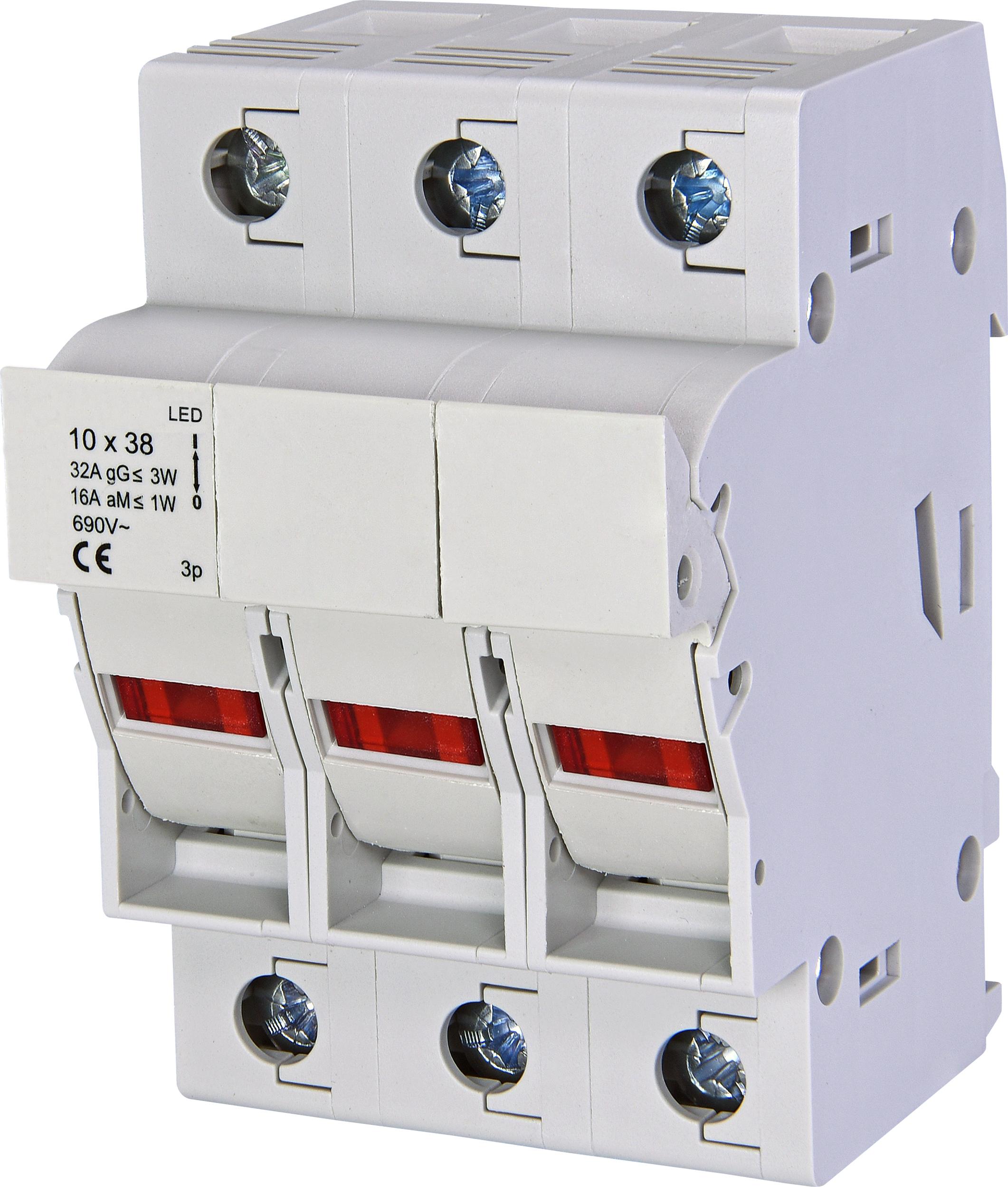 1 Stk Sicherungstrennschalter 10x38mm, 3-polig, 32A mit LED IS506109--
