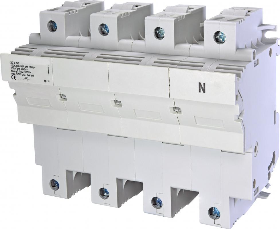 1 Stk Sicherungstrennschalter 22x58mm, 3-polig+N, 100A IS506225--