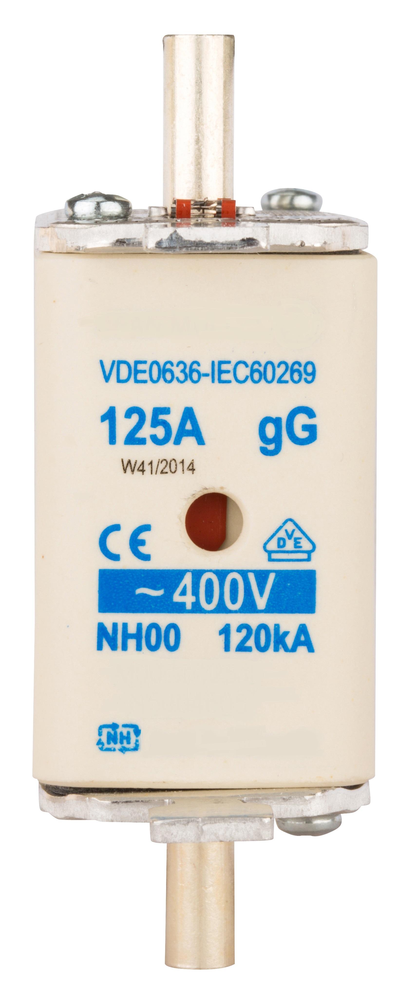 1 Stk NH-Sicherungseinsatz, Größe 00, 125A, 400V AC ISP00125--