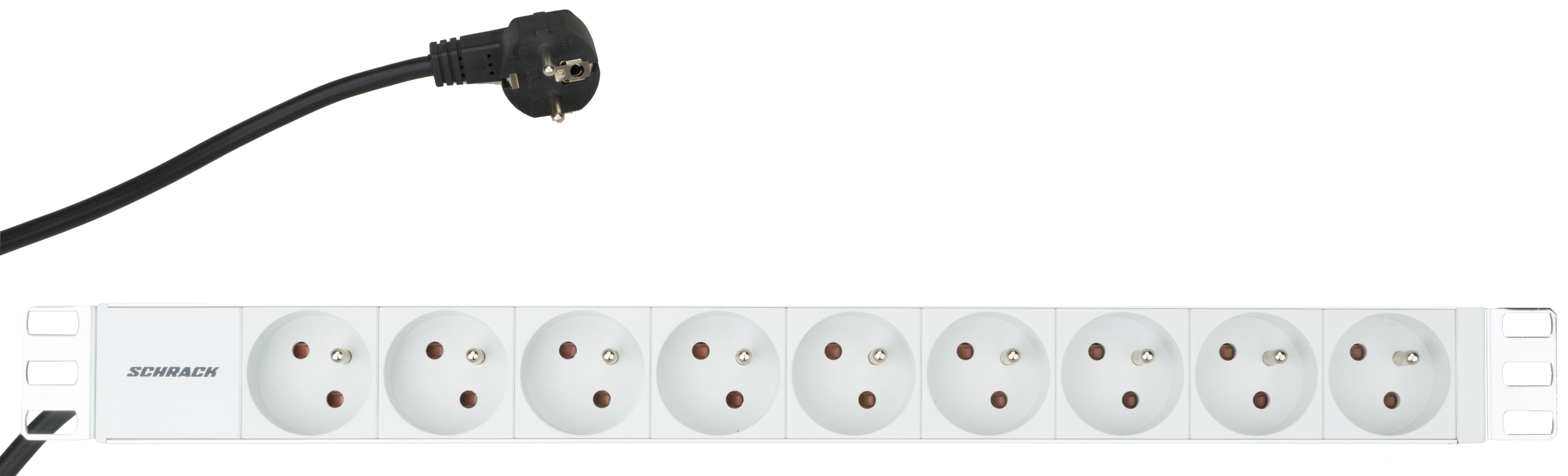 1 Stk 19 Netzleiste 9xUTE, Profil ALU 1HE, 2m-Kabel, RAL7035 IU070110--