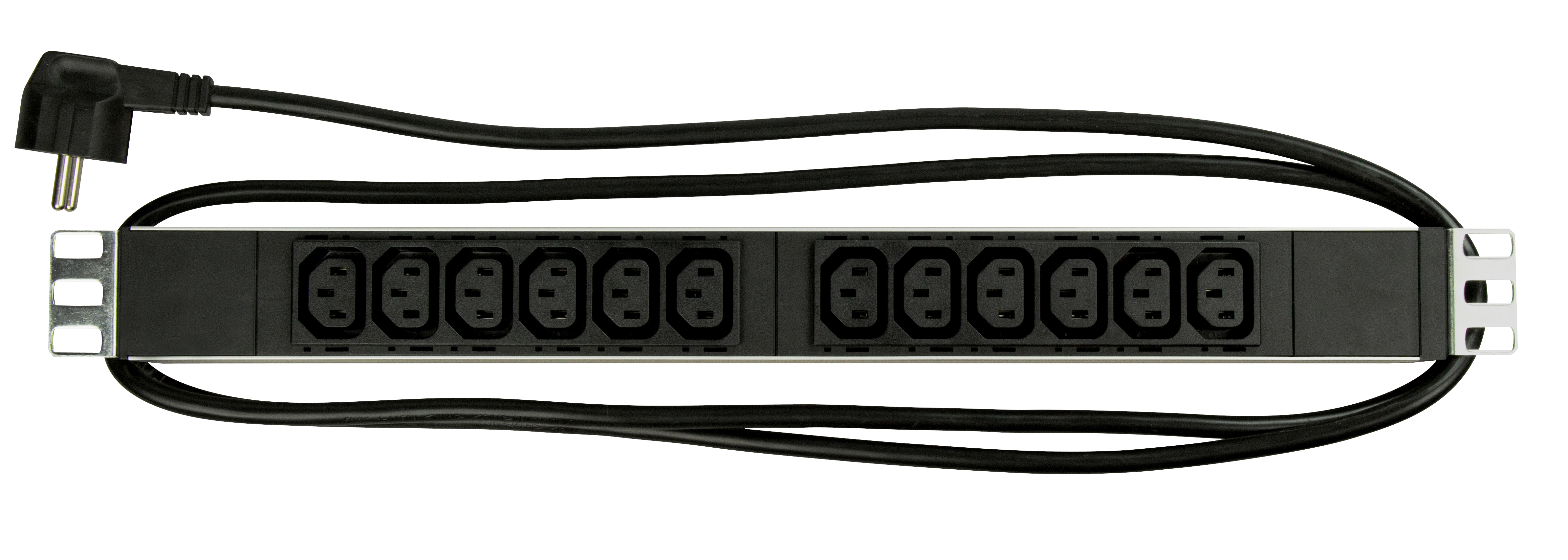 1 Stk 19Netzleiste 12xIEC C13, Profil ALU 1HE, 2m-Kabel,schwarz IU070116--