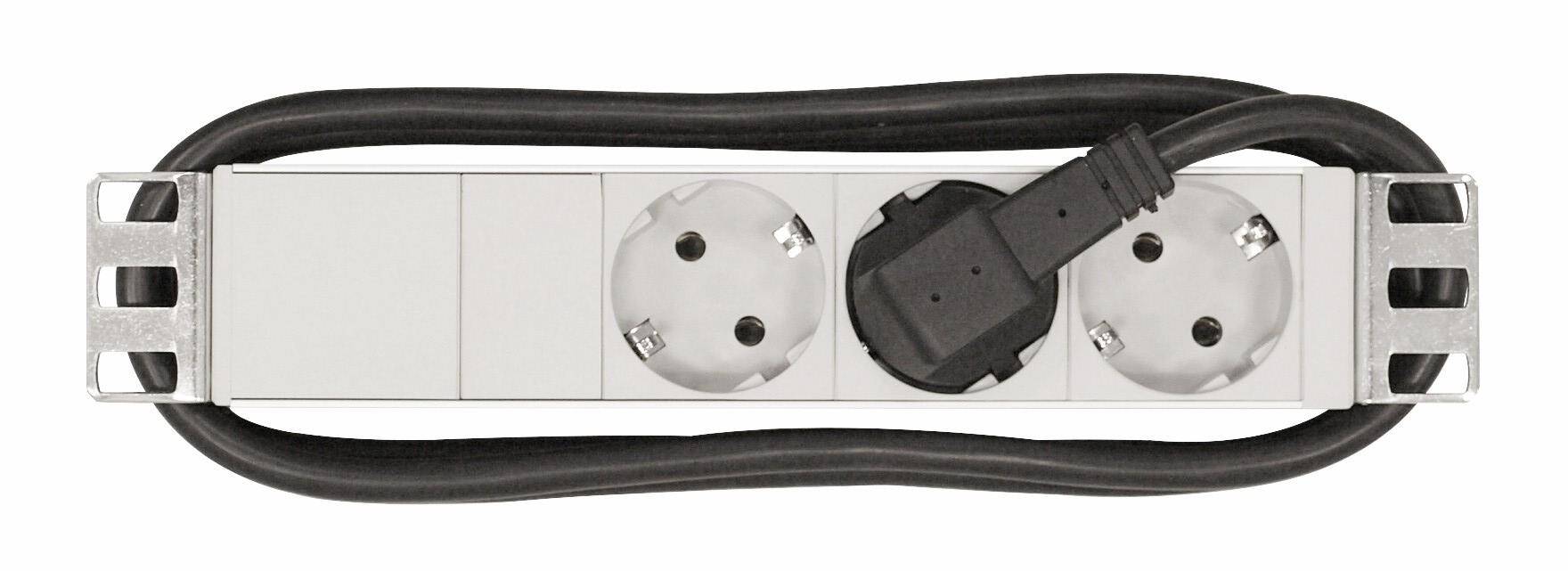 1 Stk 10 Netzleiste 3x Schuko, Profil ALU 1HE, 2m-Kabel, RAL7035 IU070122--
