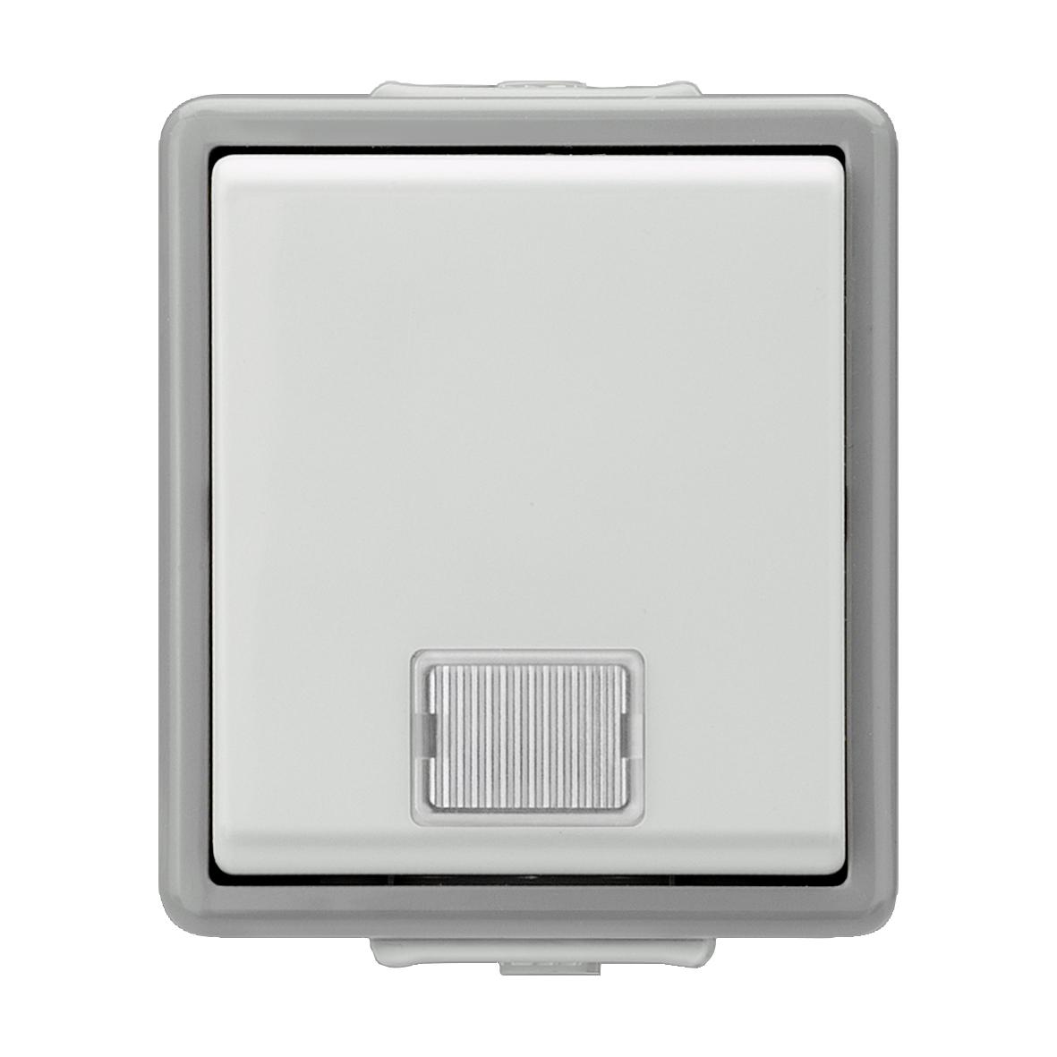 1 Stk Taster 1-fach, Aufputz, Mittelstellung, 1 LED, IP44, grau KX1153AB01