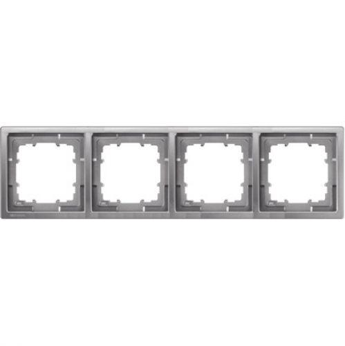 1 Stk Rahmen, Style, platinmetallic, 4-fach KX13241---