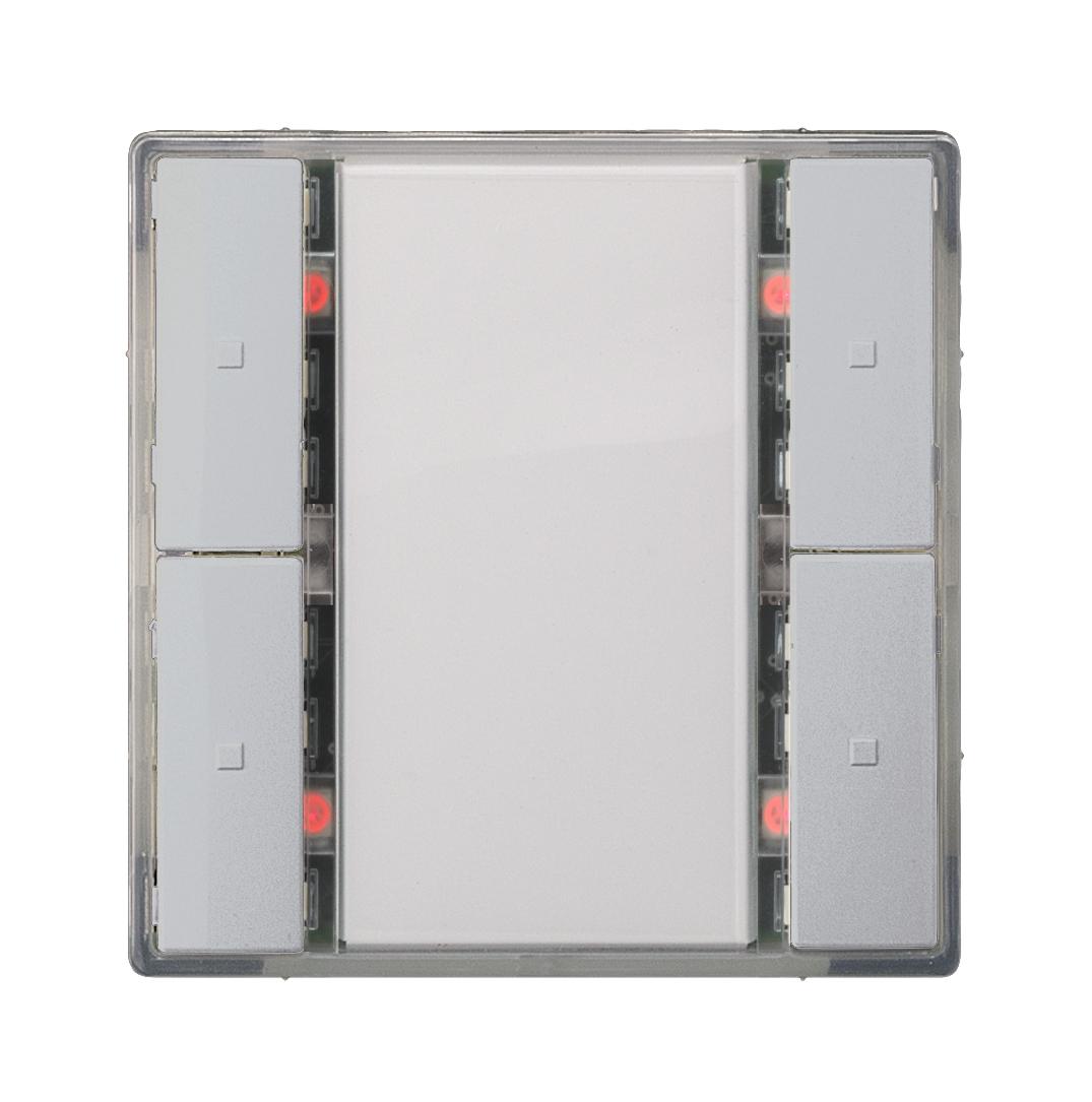 1 Stk Taster 2-fach mit Status-LED, i-system, aluminiummetallic KX2222DB33