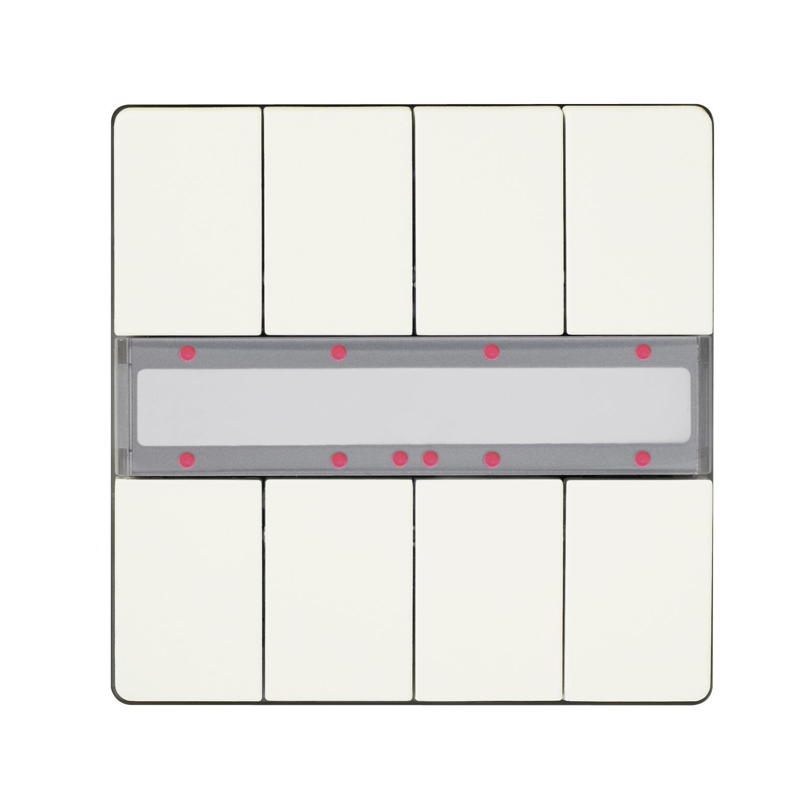 1 Stk Taster 4-fach mit Status-LED, DELTA style, titanweiß KX2872DB13