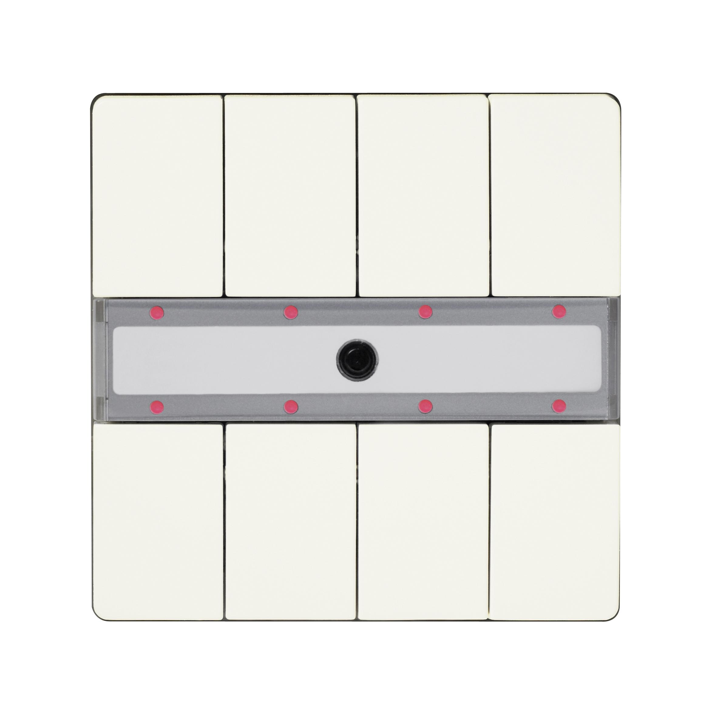 1 Stk Taster 4-fach mit Status-LED, DELTA style, titanweiß KX2872DB15