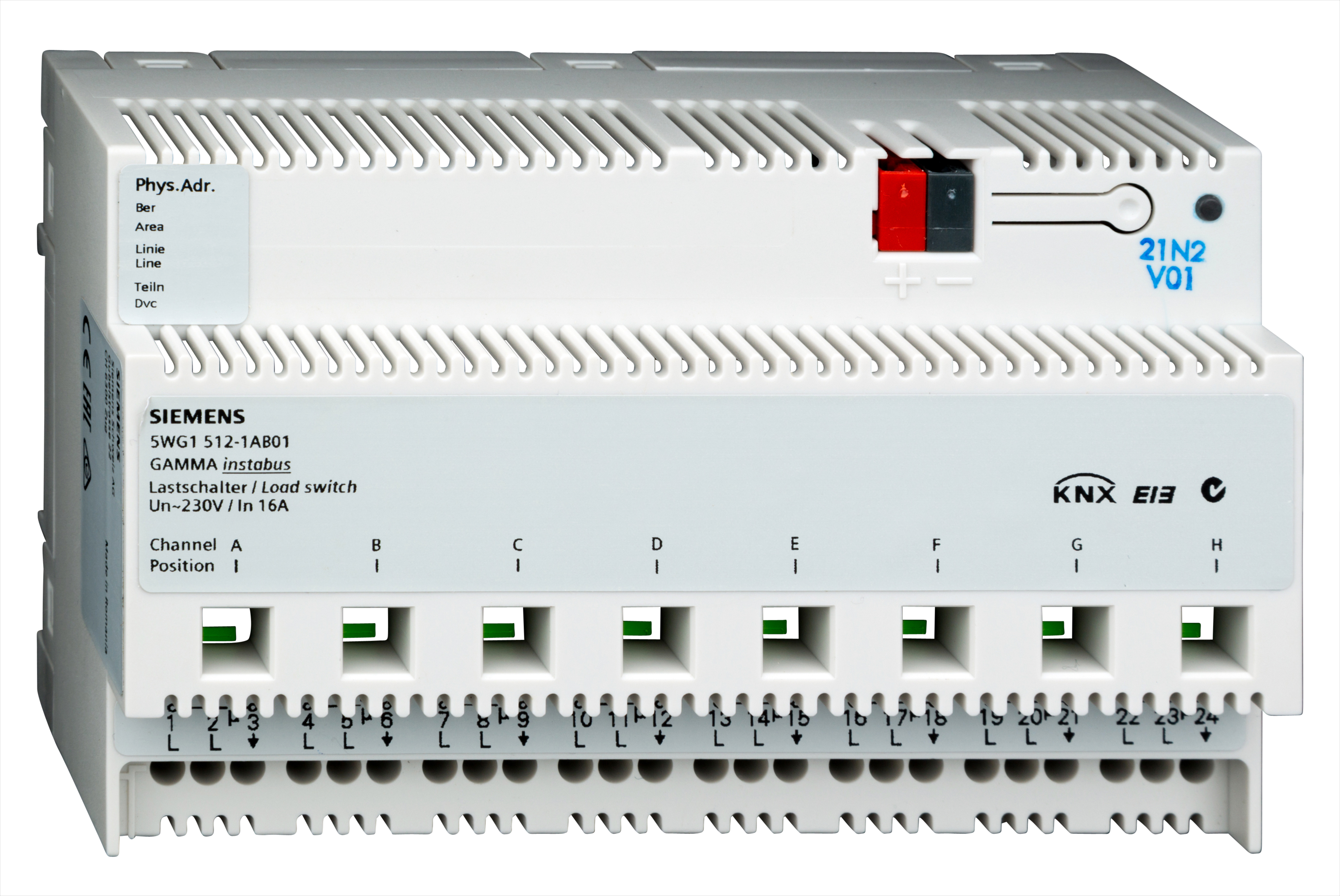 1 Stk Lastschalter, 8 x AC 230 V, 16 A, C-Last KX5121AB01