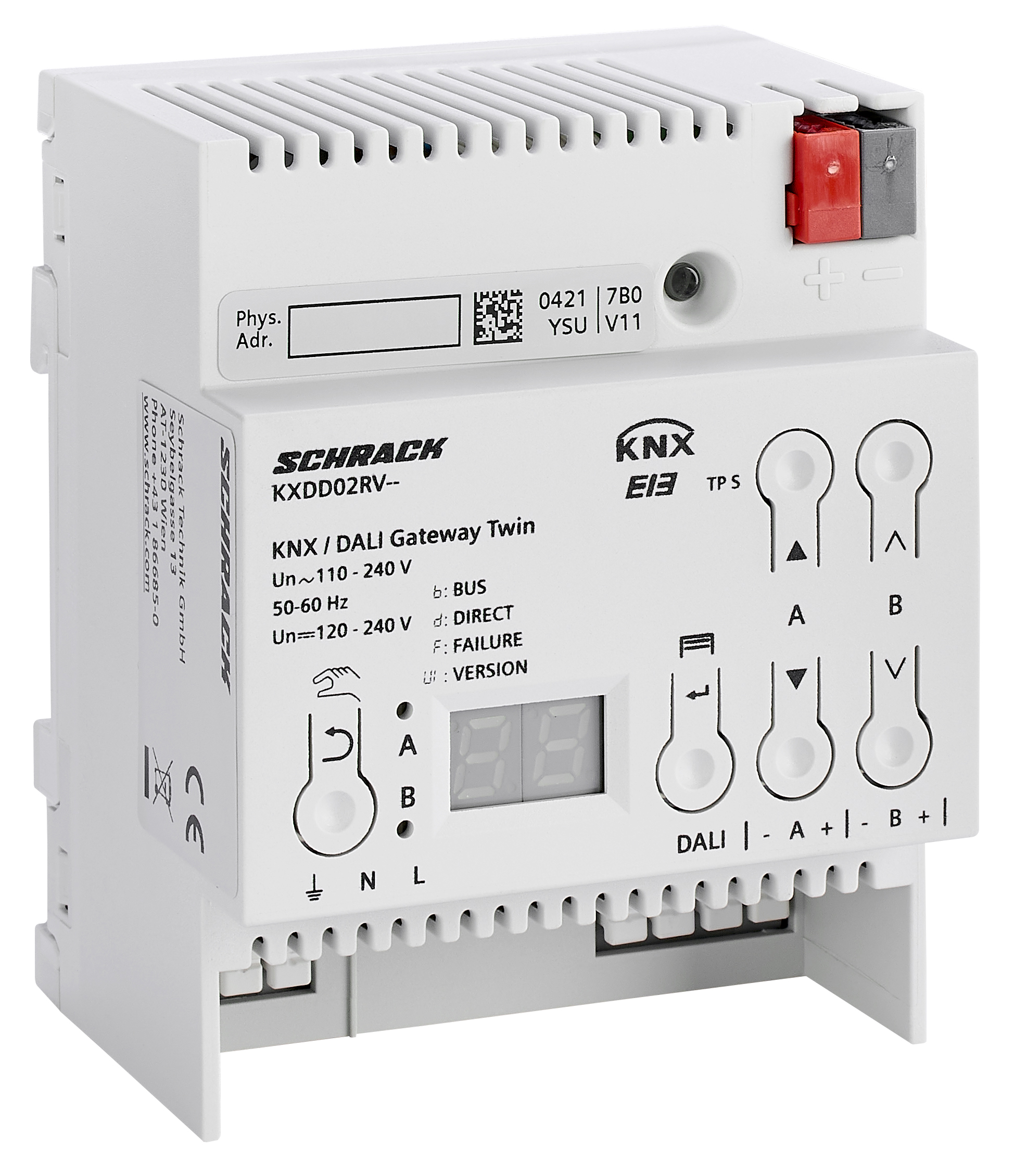 1 Stk KNX/DALI Twin Gateway, für max. 2 x 64 DALI-EVGs KXDD02RV--