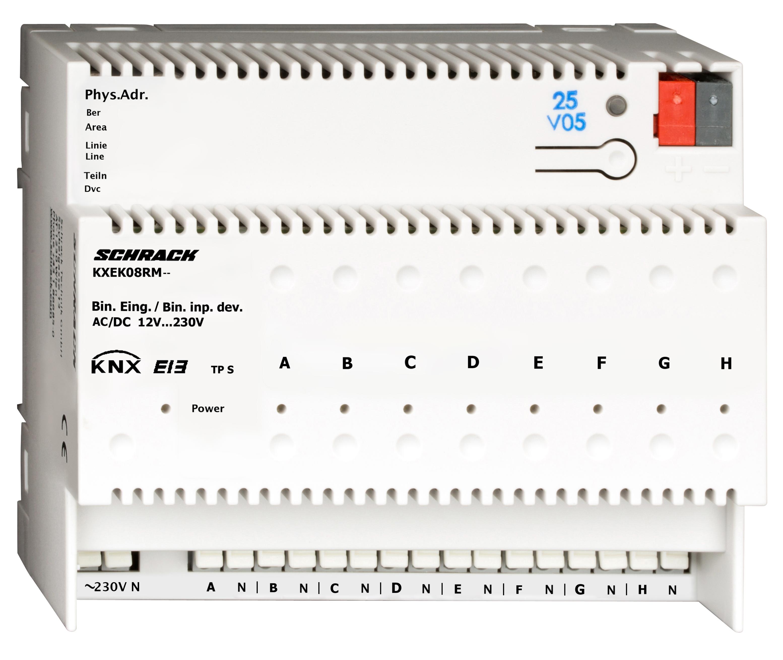 1 Stk KNX Binäreingang, 8 Eingänge für AC/DC 12 … 230V KXEK08RM--