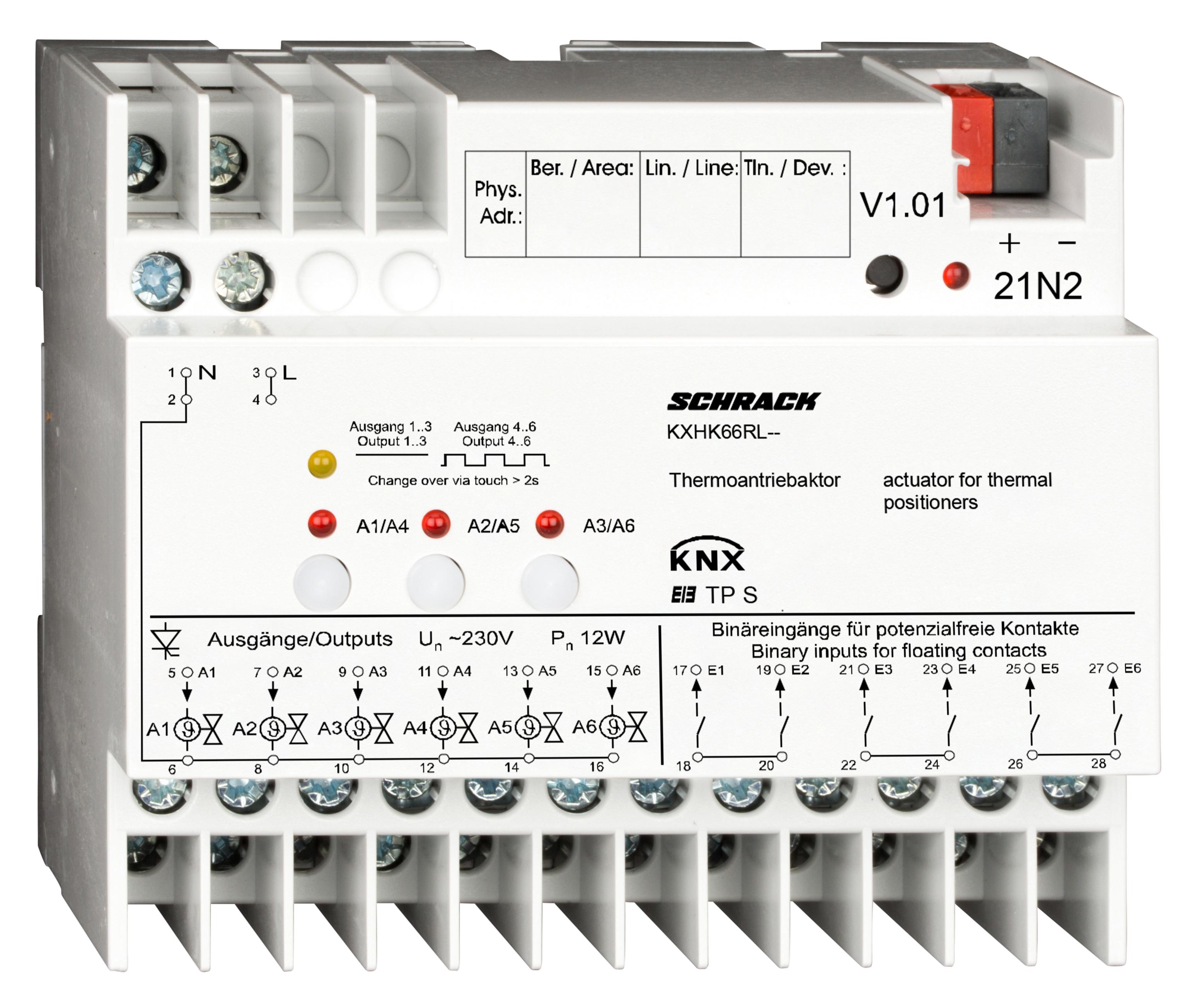 1 Stk KNX Heizungs-/Thermoantriebaktor, 6 Eingänge, 6 Ausgänge KXHK66RL--