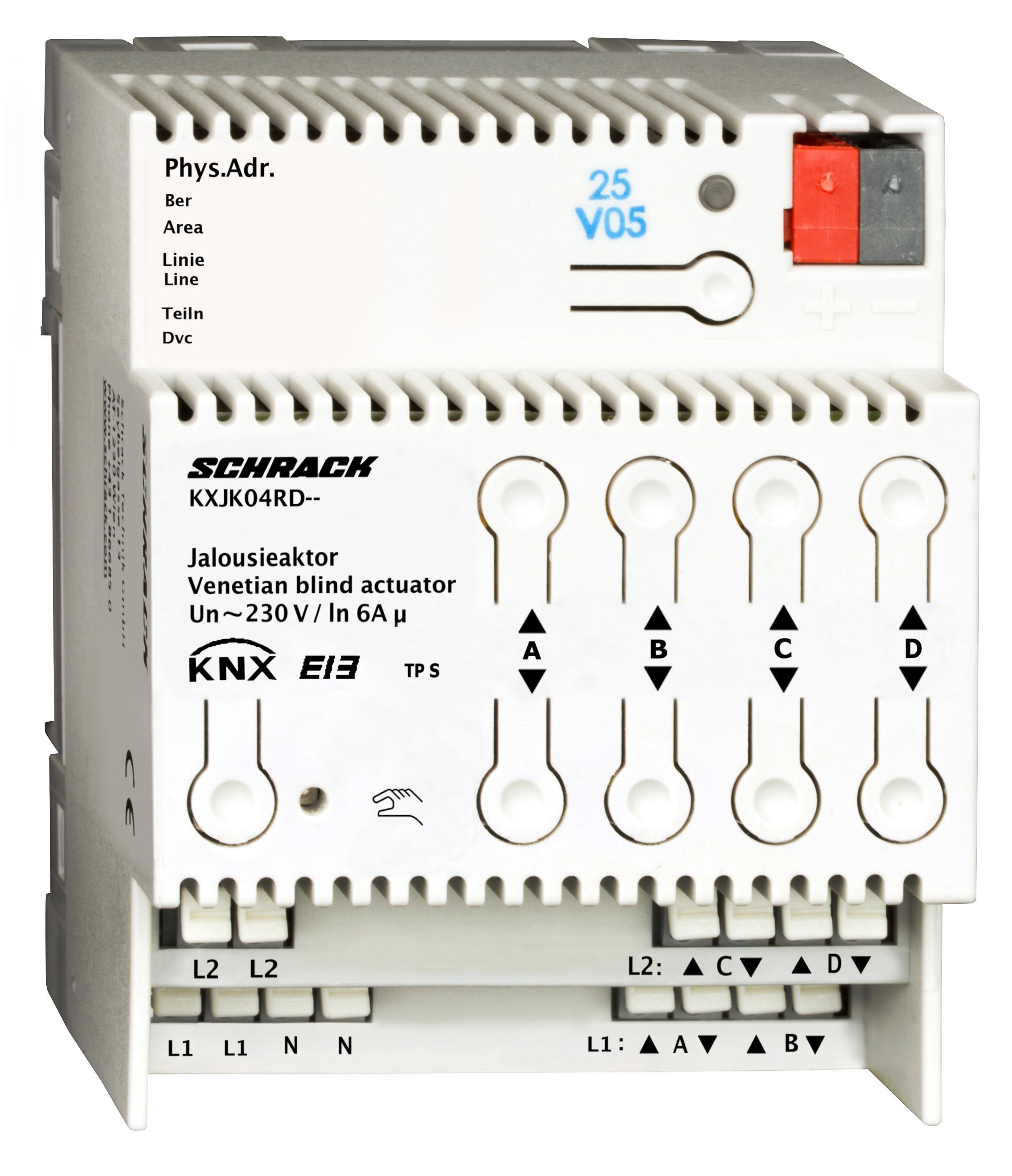 1 Stk KNX Jalousieaktor, 4 x AC 230V, 6A KXJK04RD--