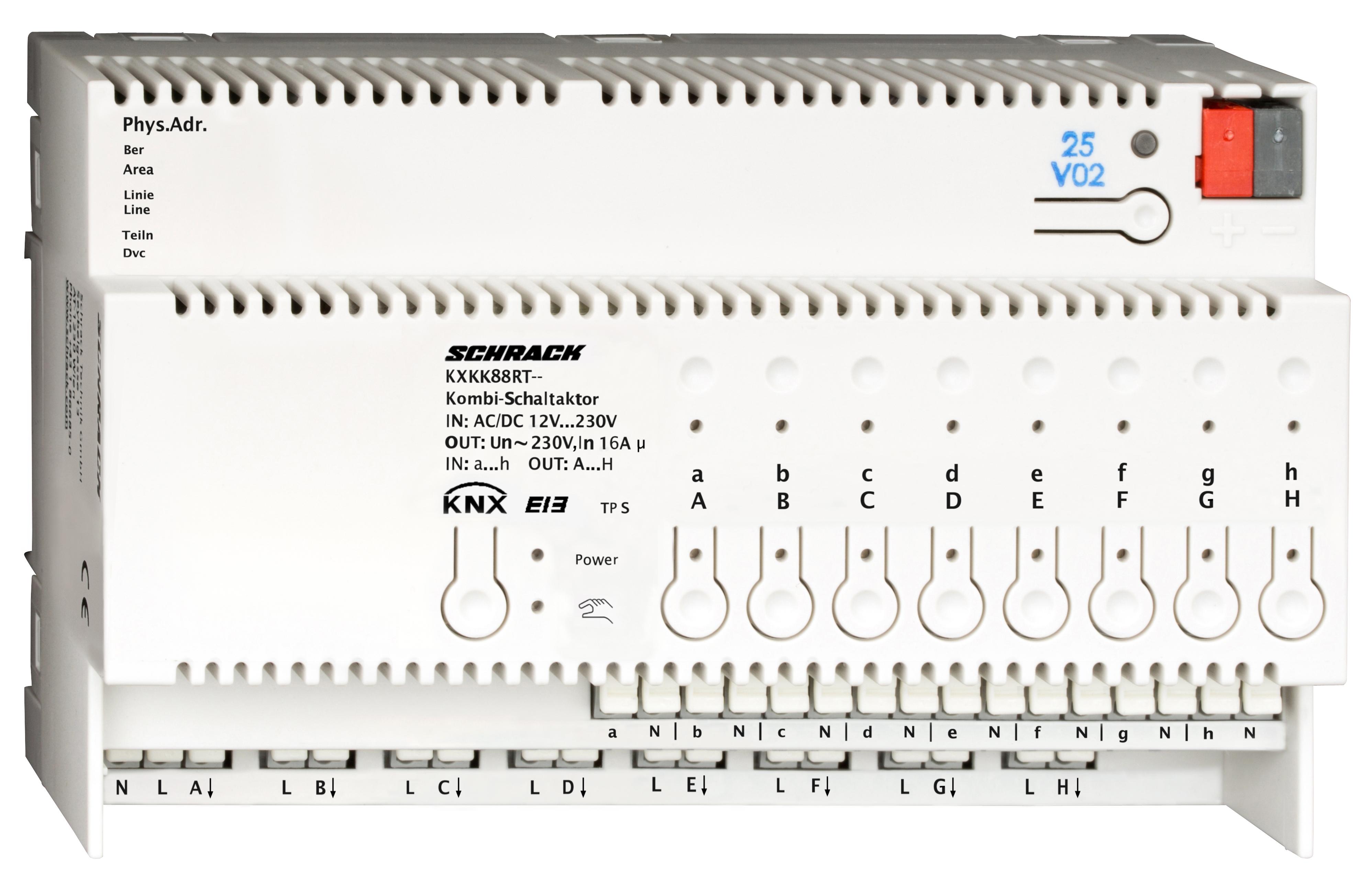 1 Stk KNX Kombi-Schaltaktor, 8 x AC 230V, 16 A, 8 x Binäreingang KXKK88RT--