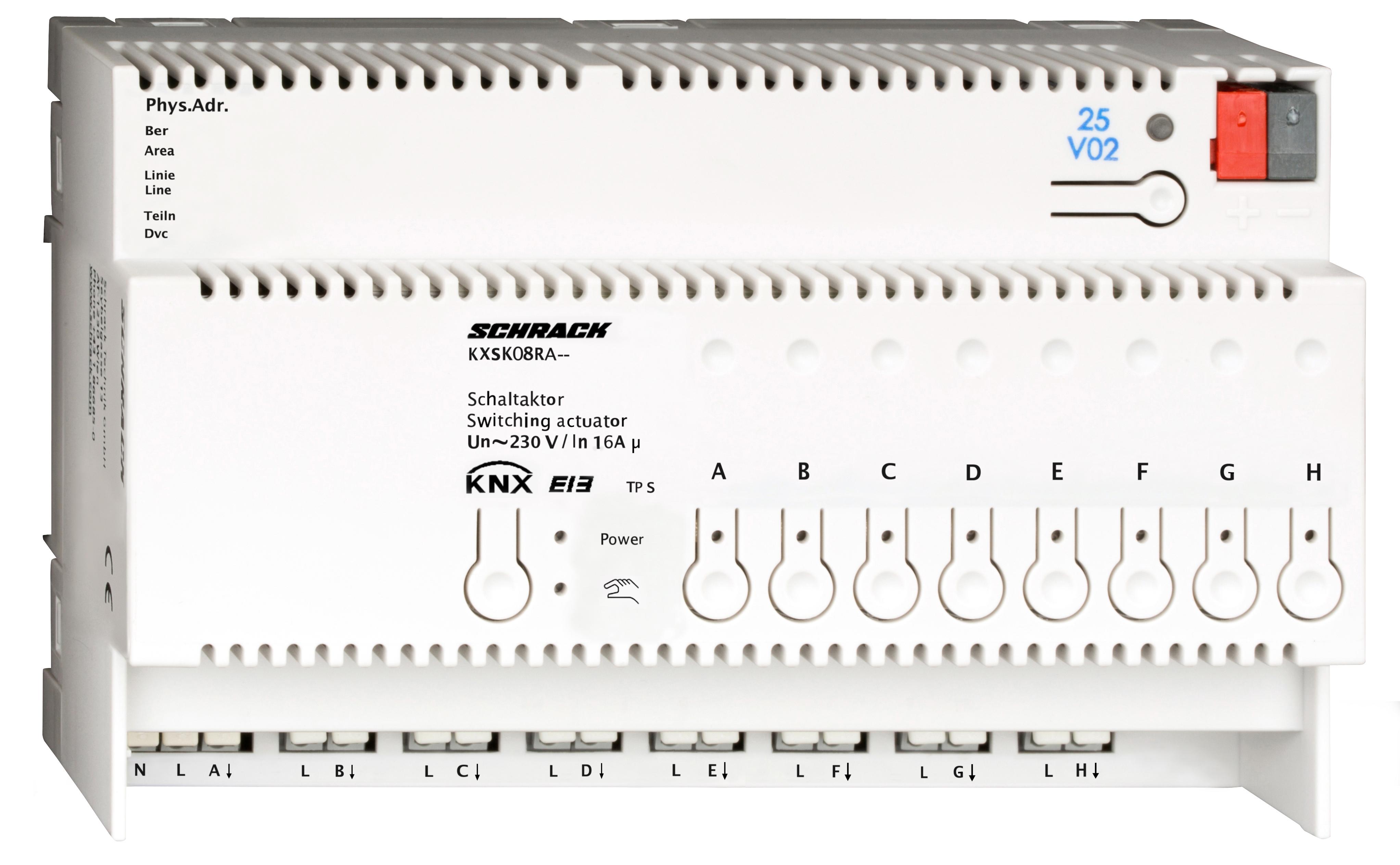 1 Stk KNX Schaltaktor, 8 x AC 230V, 16A KXSK08RA--
