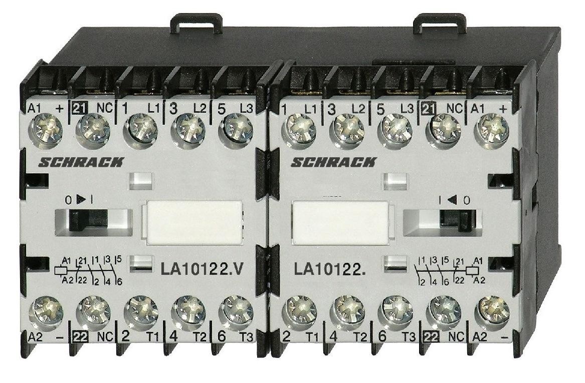 1 Stk Mini-Wendeschütz 5,5kW 24VAC, mit Öffner LA1W12W001