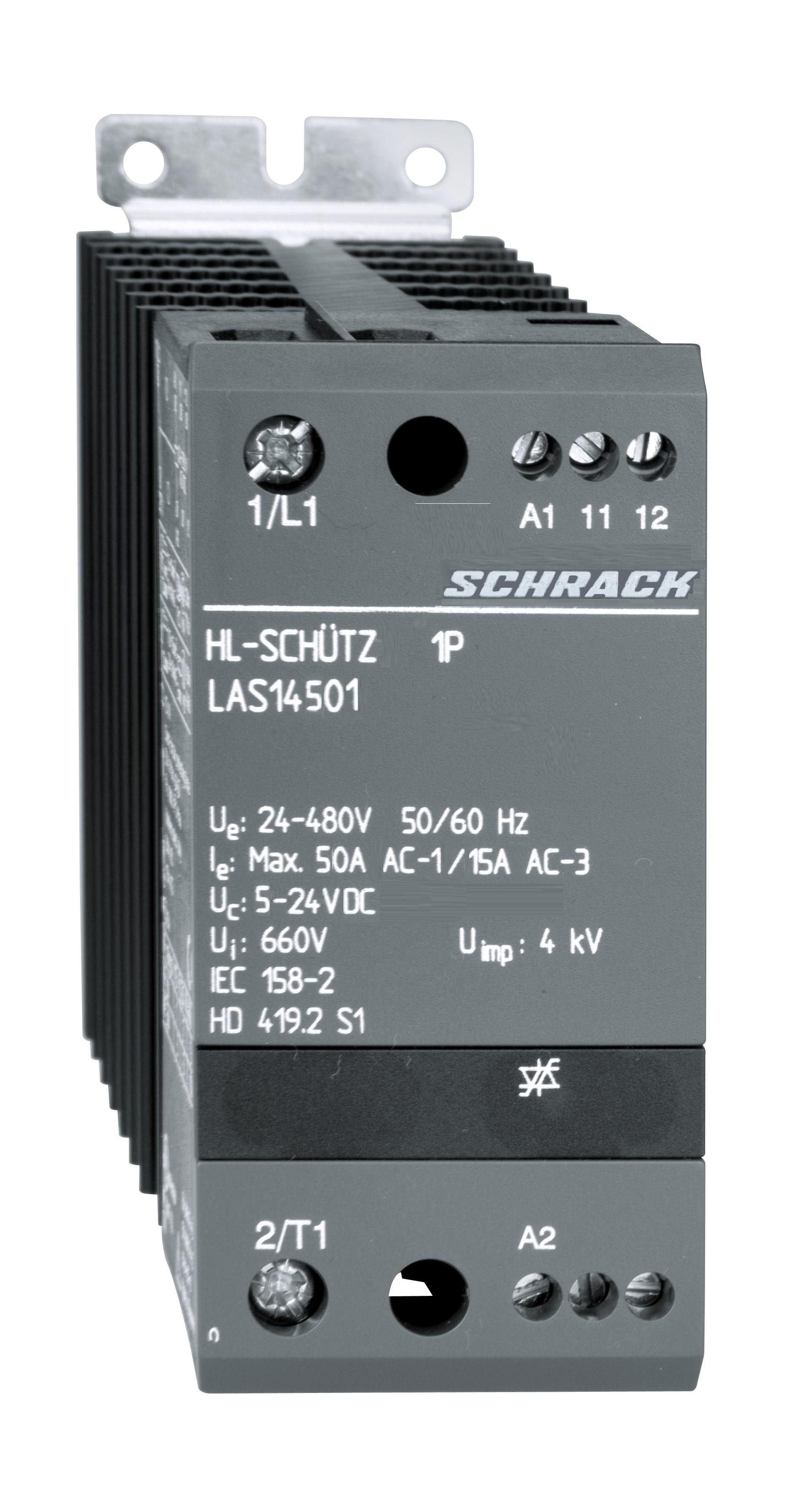 1 Stk Halbleiterschütz 1-polig 50A/24-480VAC, 5-24VDC LAS14501--