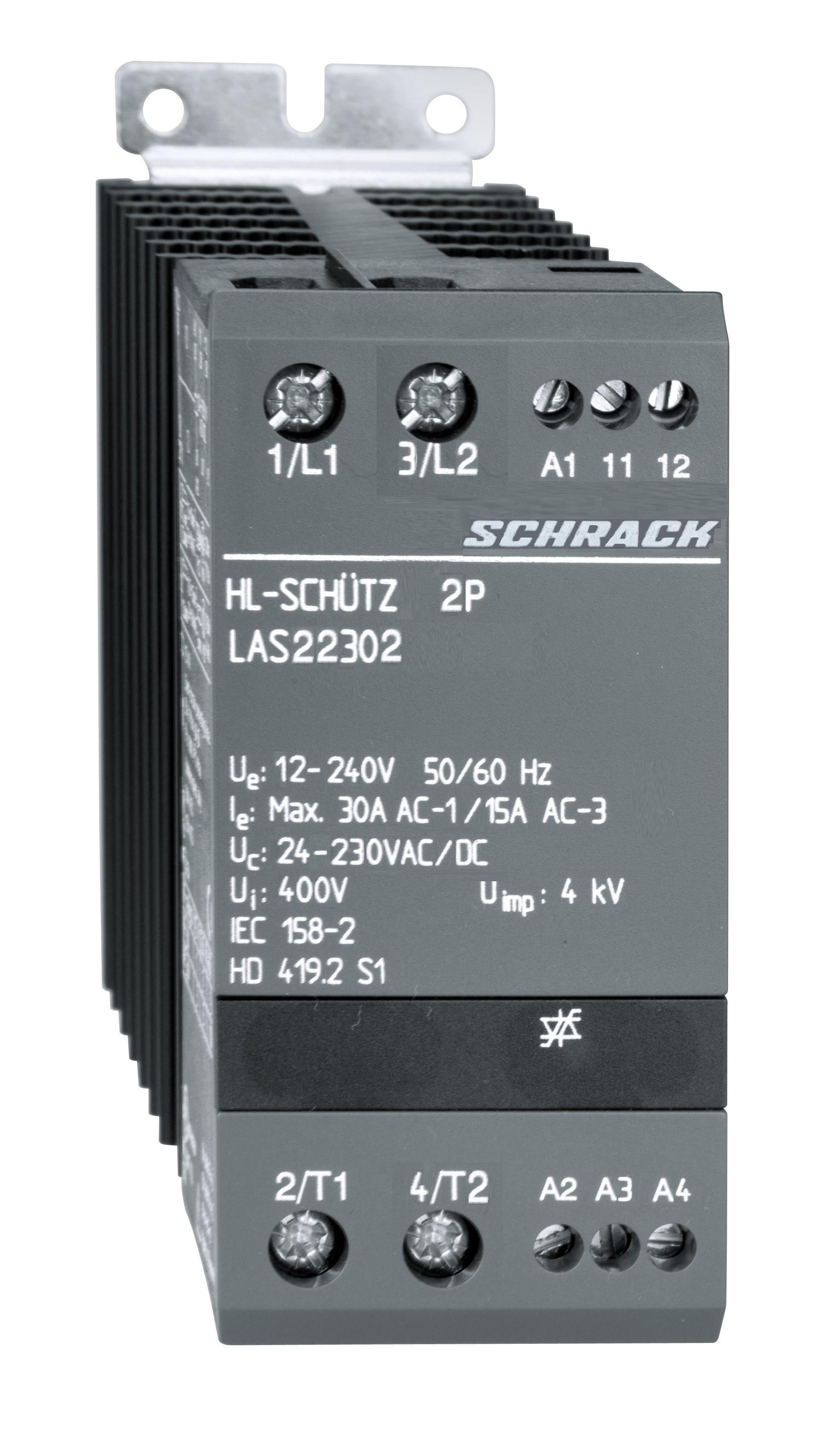 1 Stk Halbleiterschütz 2x1-polig 30A/12-230VAC, 24-230VAC/DC LAS22302--