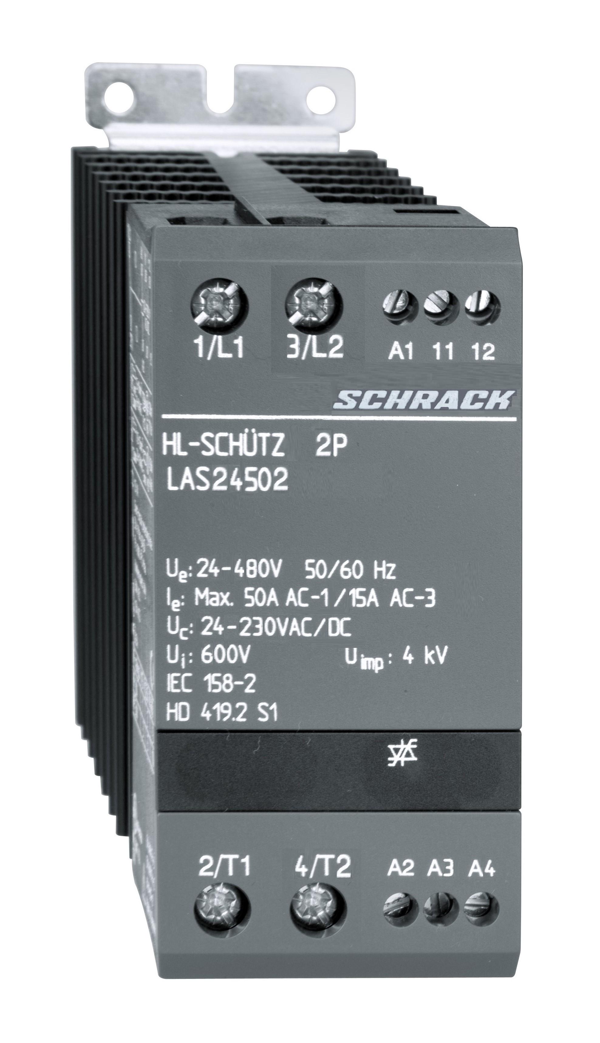 1 Stk Halbleiterschütz 2x1-polig 50A/24-480VAC, 24-230VAC/DC LAS24502--