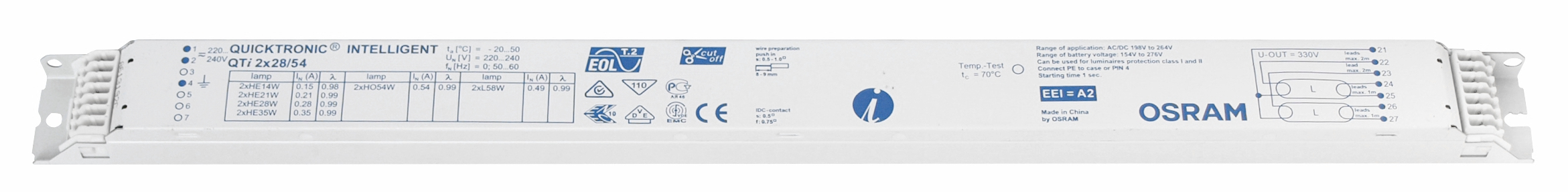 1 Stk EVG QTi 2x28/54/220-240 für T5 Multiwatt nicht dimmbar LI5Z797076