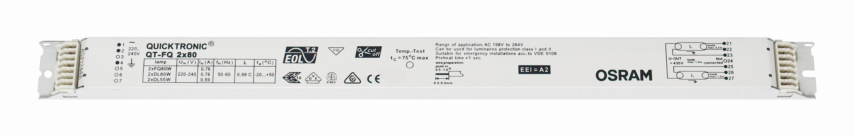 1 Stk EVG QT-FQ 2x80 für T5 nicht dimmbar LI5Z825564