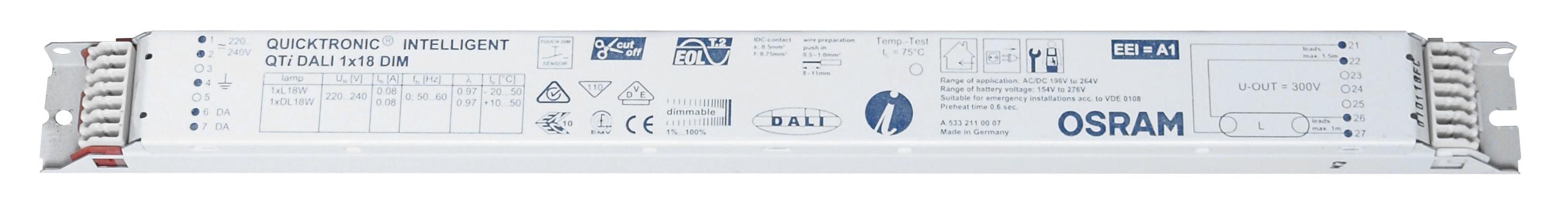 1 Stk EVG QTIDALI 1x18/220-240 für T8 dimmbar DALI LI5Z870403
