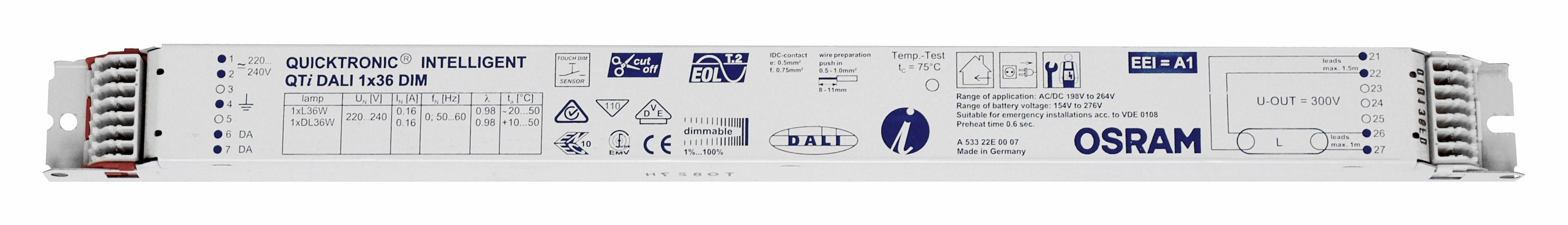1 Stk EVG QTIDALI 1x36/220-240 für T8 dimmbar DALI LI5Z870427