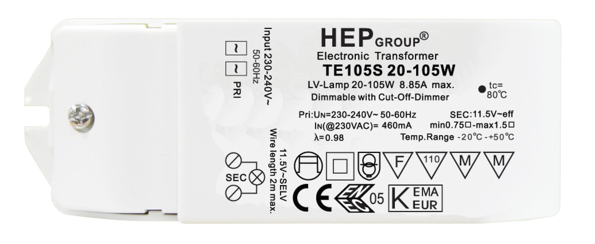 1 Stk Elektronischer Transformator, 240/12V, 20-105VA, Dimm LI5ZTE105S