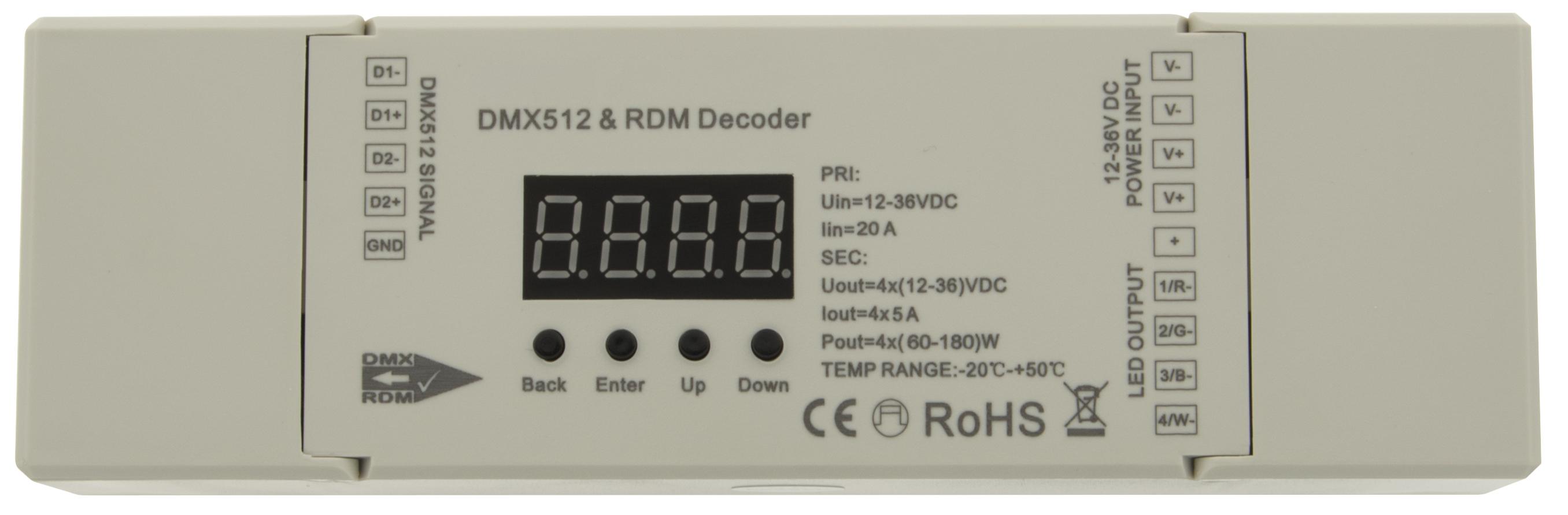 1 Stk LED DMX/RDM Decoder RGBW (4CH) LILC035004